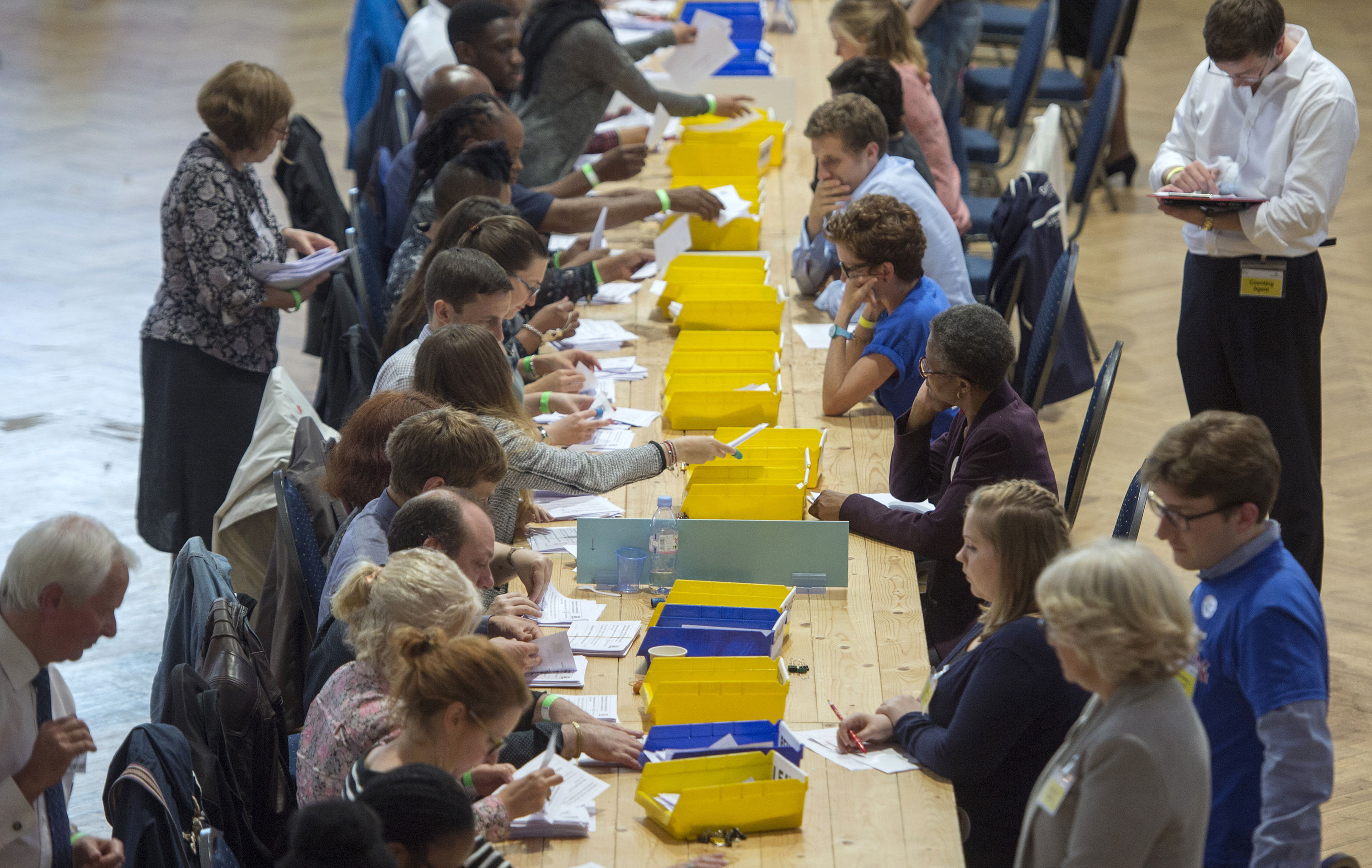 Votes are sorted into Remain, Leave and Doubtful trays as ballots are counted during the E.U. Referendum count for Westminster and the City of London at the Lindley Hall, Royal Horticultural Halls, London, on June 24, 2016.