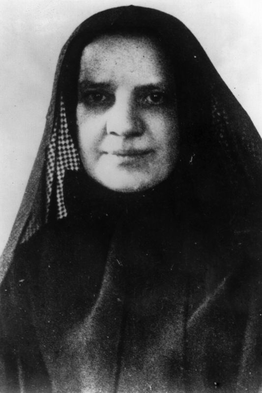A turn-of-the-century portrait of American nun and founder of the Missionary Sisters of the Sacred Heart Francesca Xavier Cabrini (1850 - 1917). She was canonized in 1946.  =