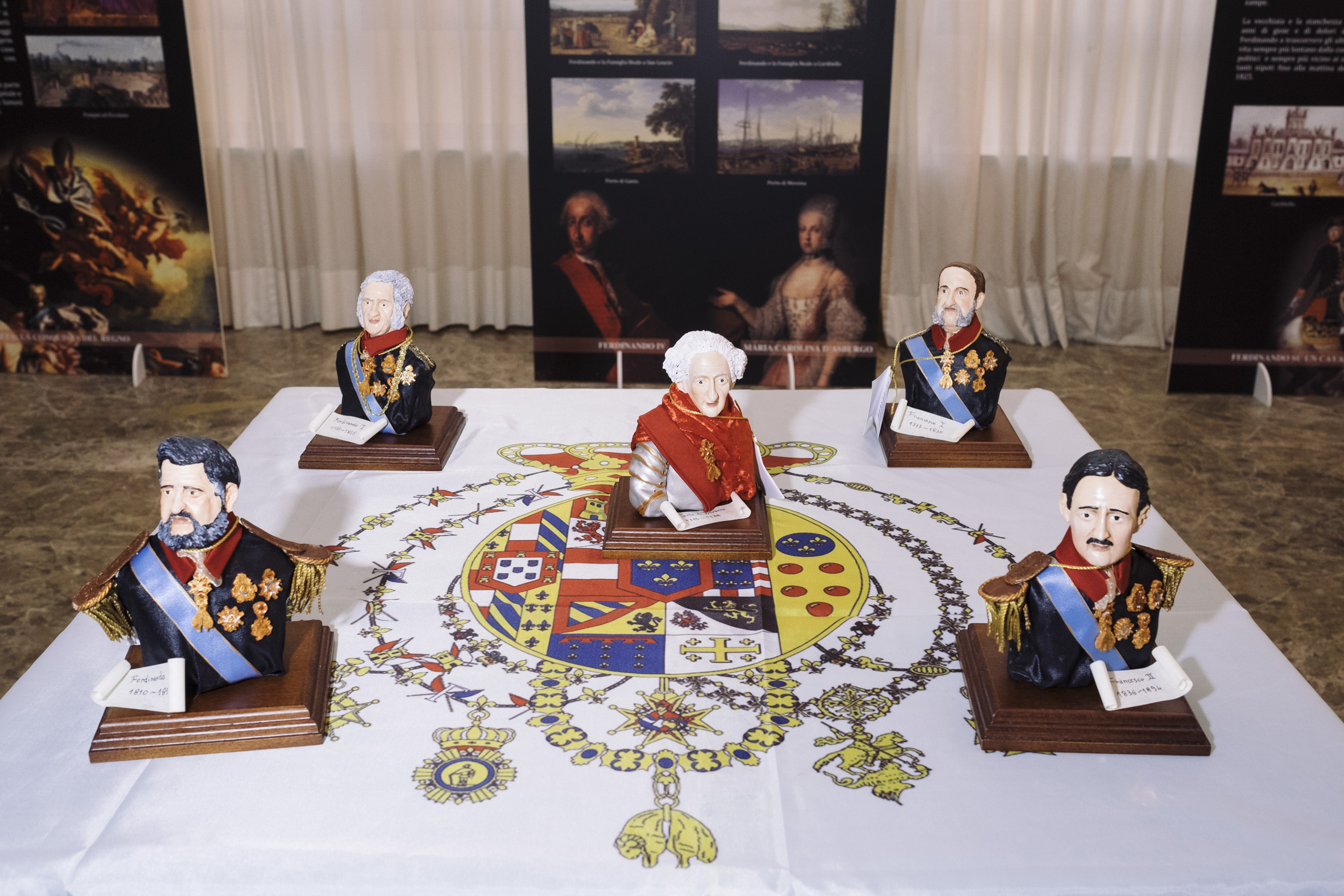 Little statues portraying the five Bourbon kings that have been on the throne of the Kingdom of Two Sicilies, February, 2016. From the left to right: Ferdinand II, Ferdinand I, Charles, Francis I and Francis II.