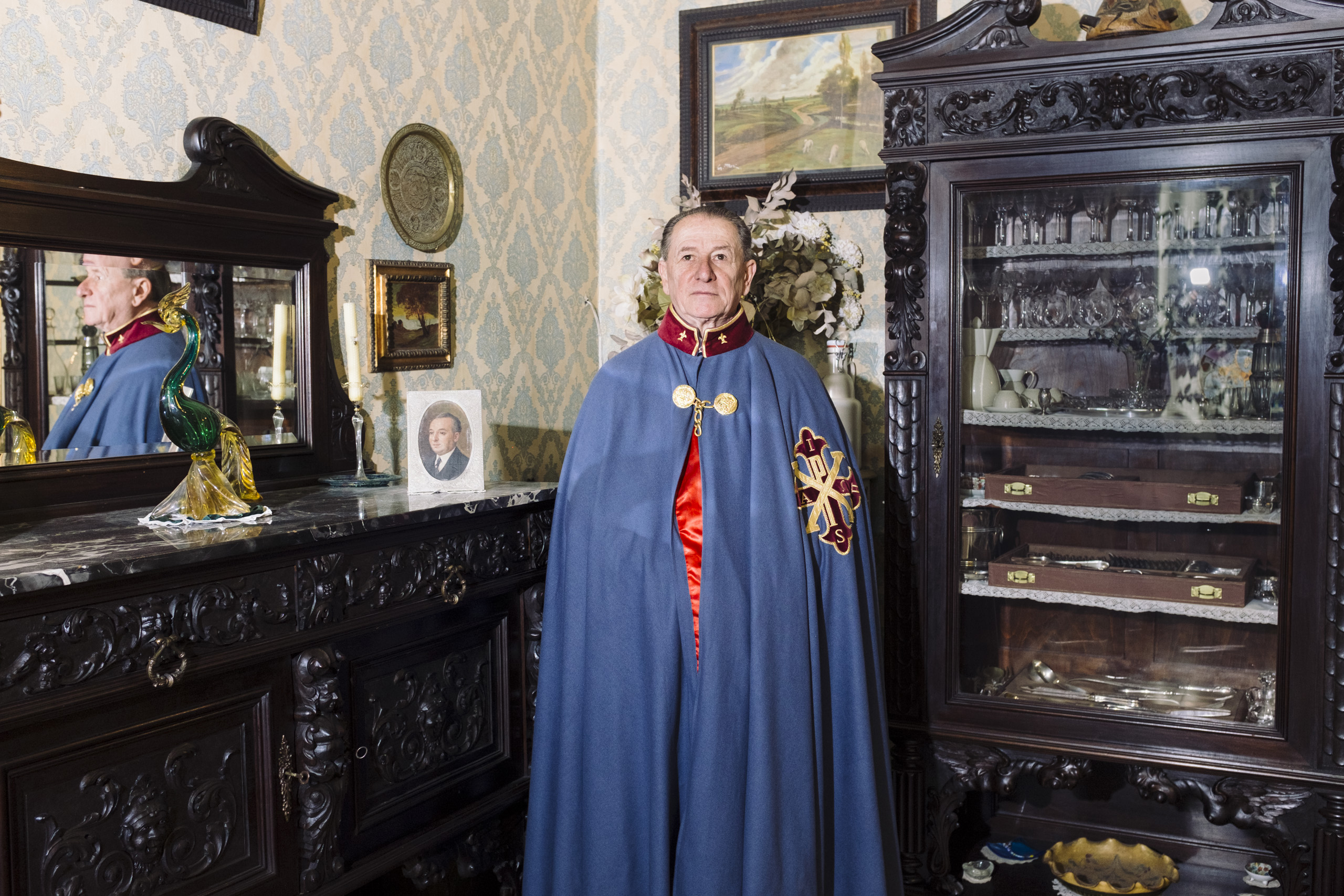 Ettore Corrado Araimo, 71, knight of the Sacred Military Constantinian Order of Saint George in his palace in Naples, February, 2016. Still today, the members of the royal Bourbon family are the Grand Masters of the order.