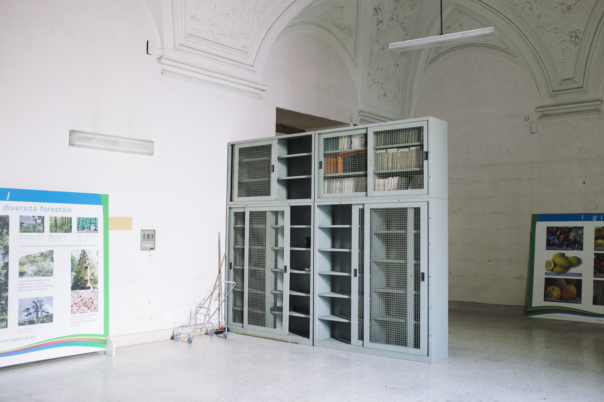 Book archives in the Royal Palace of Portici, now hosting the faculty of agricolture of the University of Naples Federico II, March, 2016.