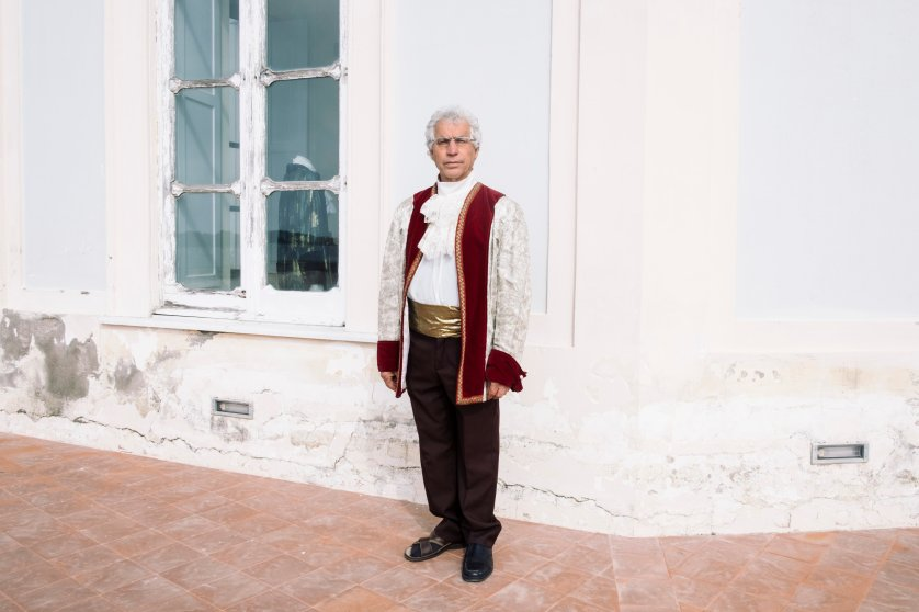 A local volunteer tour guide at the Casina Vanvitelliana, in Bacoli, March, 2016. The Casina Vanvitelliana was a Bourbon hunting and fishing house built on top of a little island in Lake Fusaro.