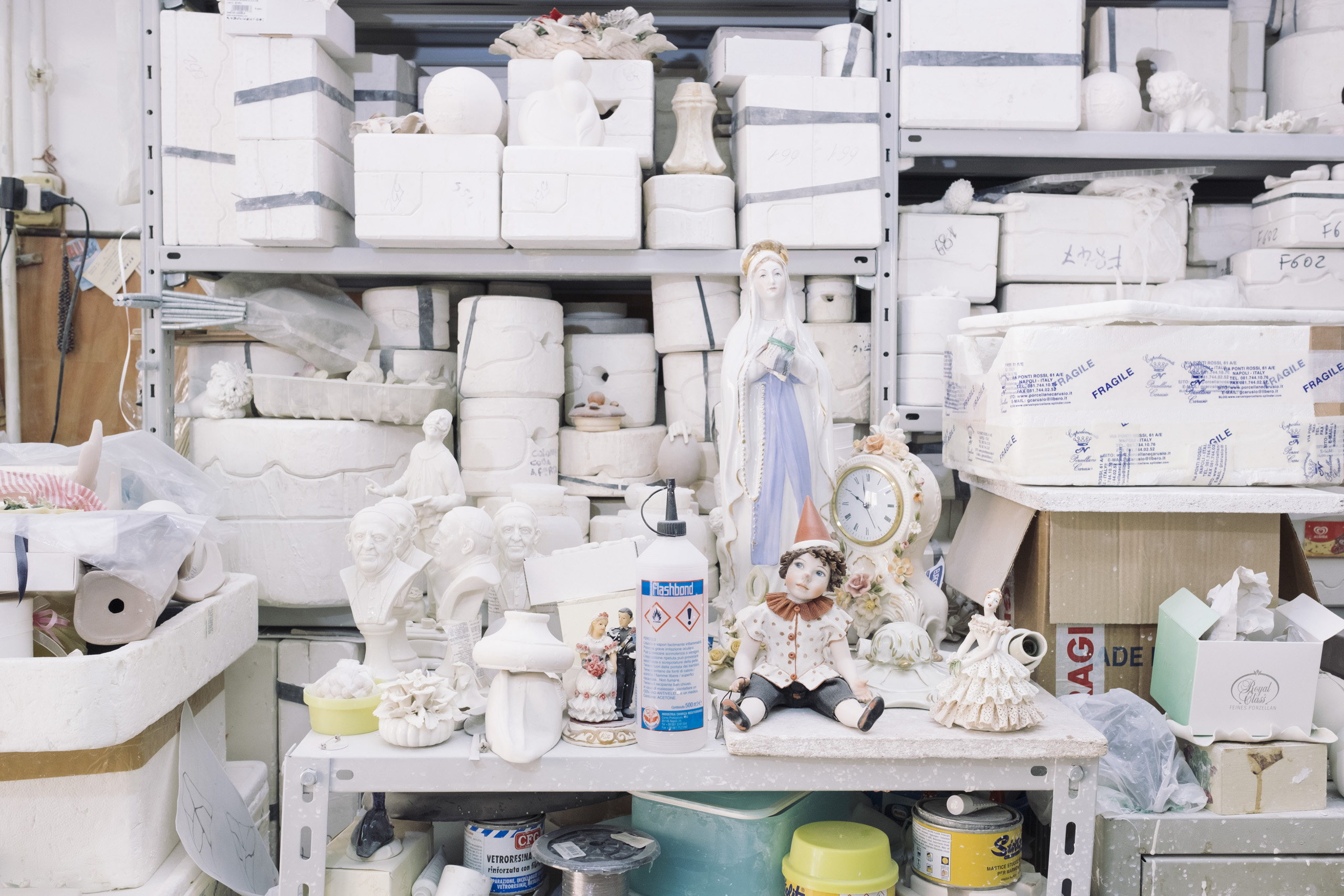 The interior of a Capodimonte porcelain laboratory in Naples, April, 2016. The Royal Porcelain Factory was established in the Royal Palace of Capodimonte by King Charles of Bourbon and his wife in 1743.
