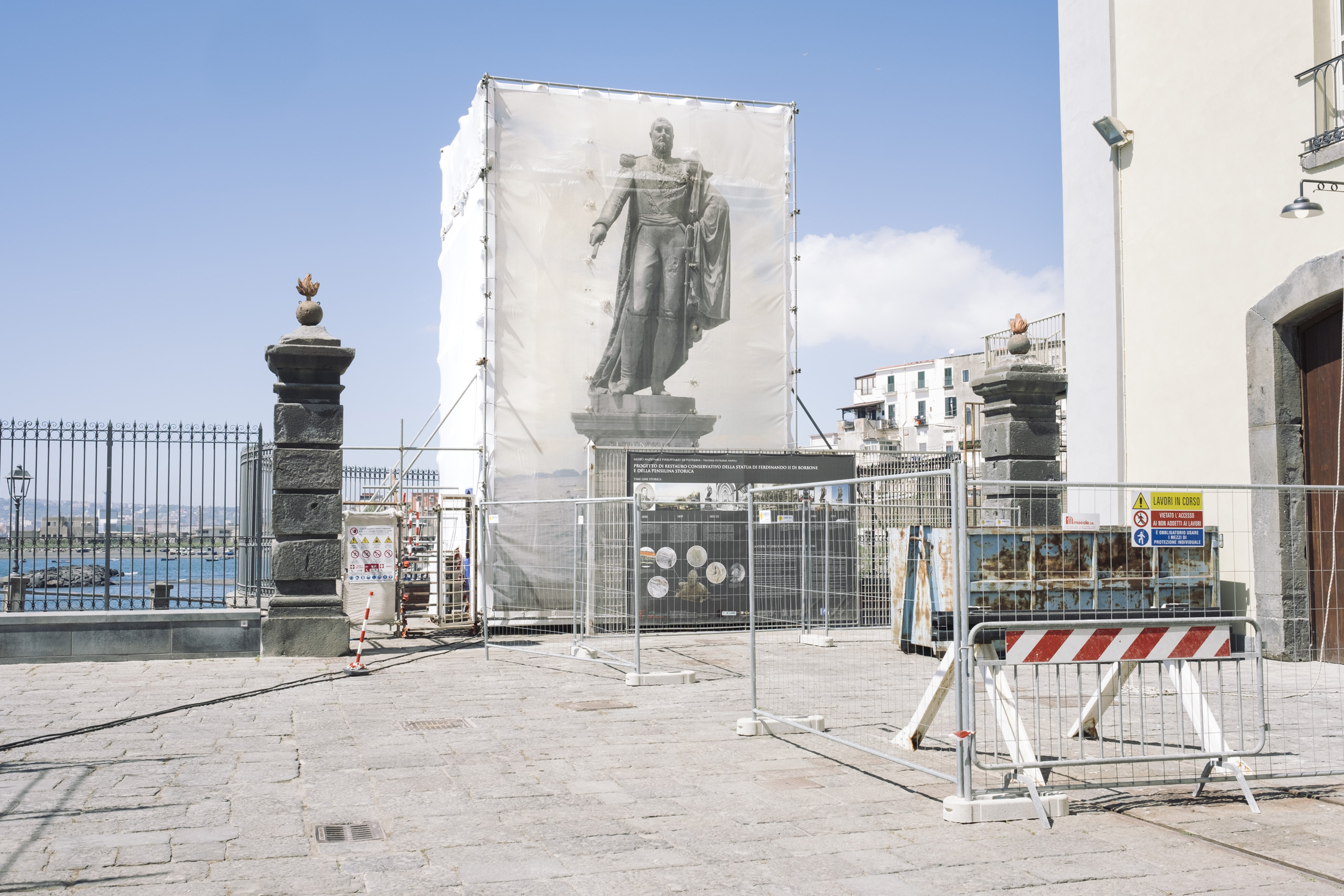 Works are underway to restore the statue of Ferdinando II of Two Sicilies at the Railway Museum of Pietrarsa, April, 2016. Pietrarsa was an active factory for locomotive and ammunition production until the unification of Italy, when production steadily decreased and eventually brought the factory to a closure.