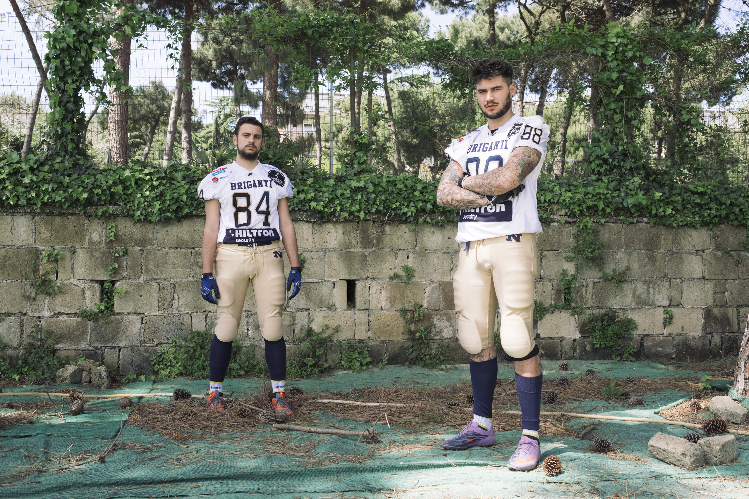 Players of the Briganti Napoli American Footbal Team before playing a regular season game, April, 2016. Briganti, or brigands, was the name associated with the people that fought against the Piedimontese soldiers during and after the unification of Italy.