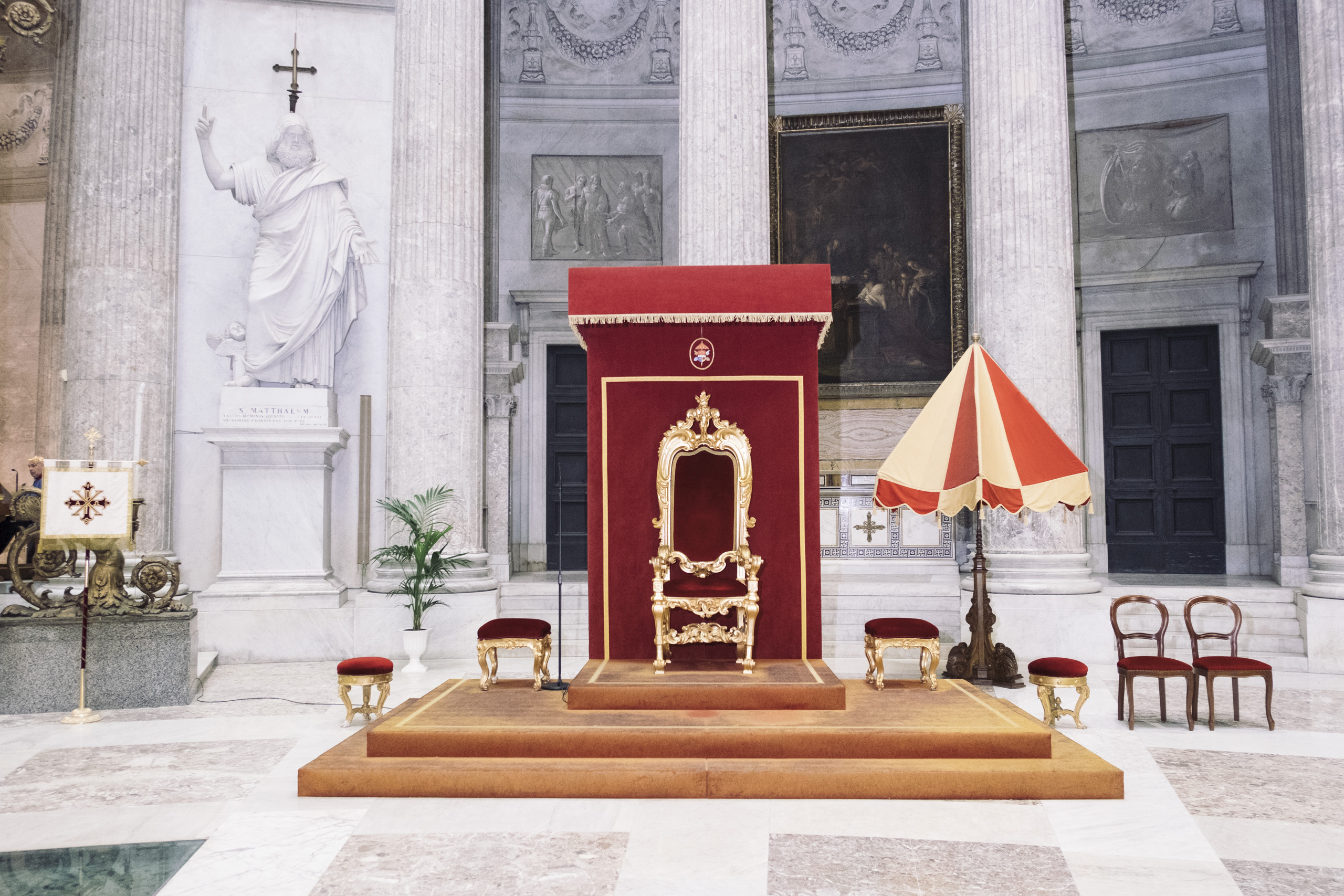 Throne in the San Francesco di Paola church, in Naples, before the investiture ceremony of the new knights of the Sacred Military Constantinian Order of Saint George, April, 2016.
