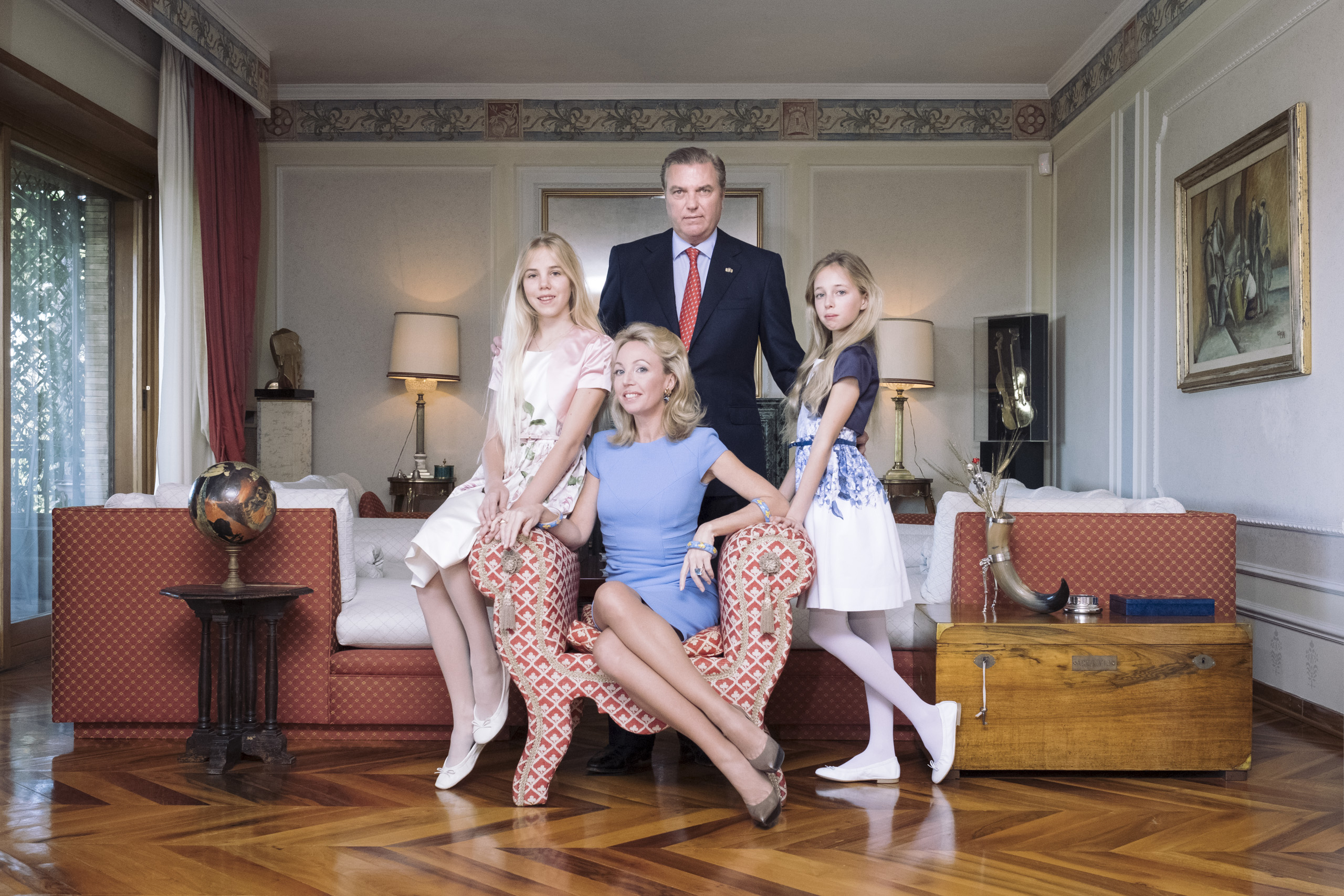 The royal family of Bourbon-Two Sicilies. From left to right: Princess Maria Carolina Duchess of Palermo, Princess Camilla Duchess of Castro, Prince Carlo Duke of Castro and Princess Maria Chiara Duchess of Capri, May, 2016. Prince Carlo is one of the two claimant to the headship of the House of Bourbon Two-Sicilies.