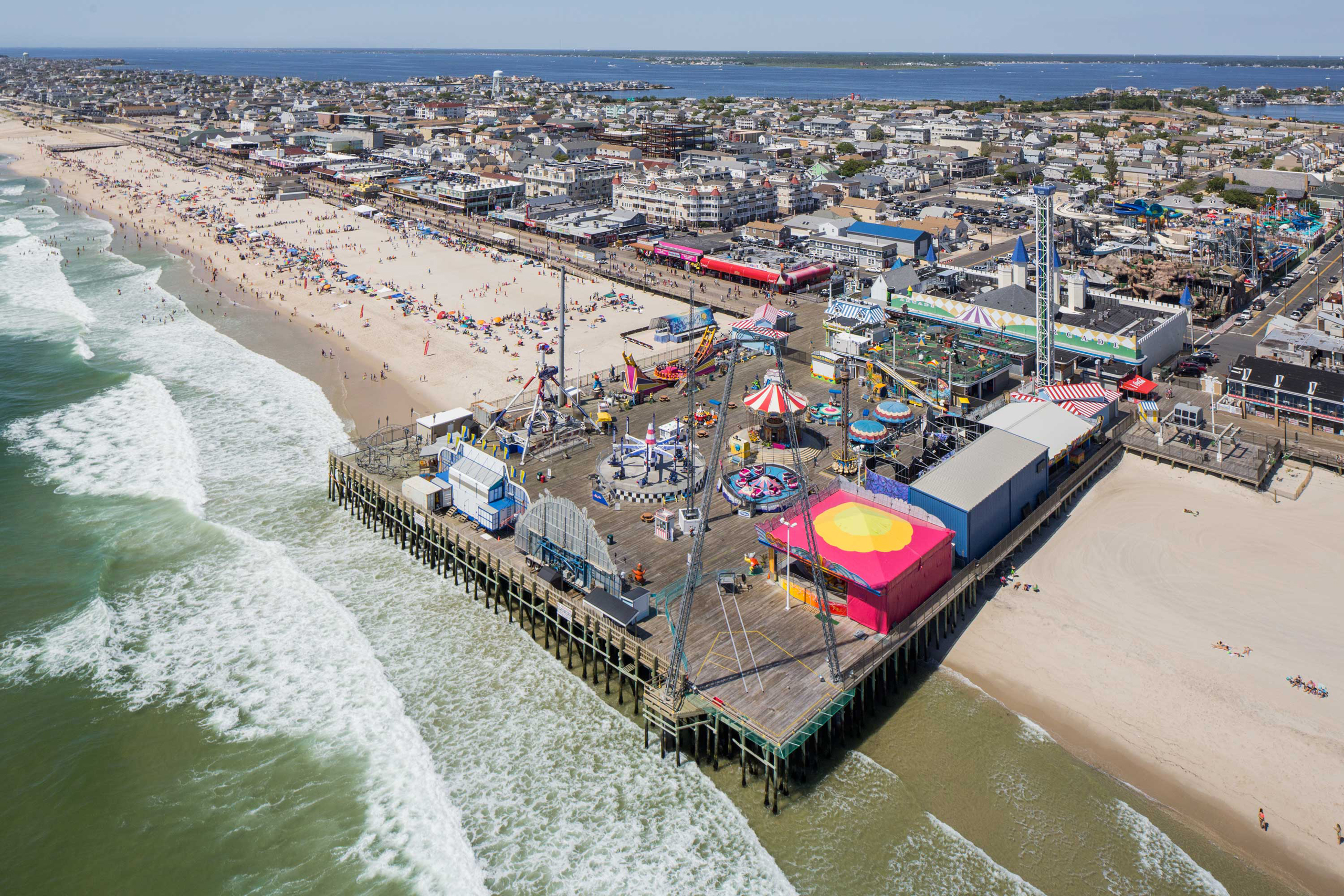 The casino pier amusement park is photographed from the air on Saturday, June 18, 2016 in Seaside Heights, NJ.  Casino Pier is an amusement park situated on a pier, it was partially destroyed by Hurricane Sandy but has since reopened.