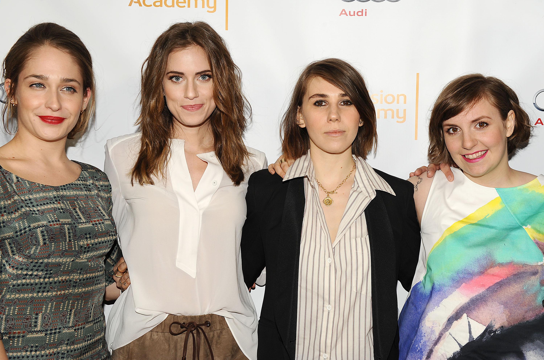 Actresses Jemima Kirke, Allison Williams, Zosia Mamet and Lena Dunham on March 13, 2014.