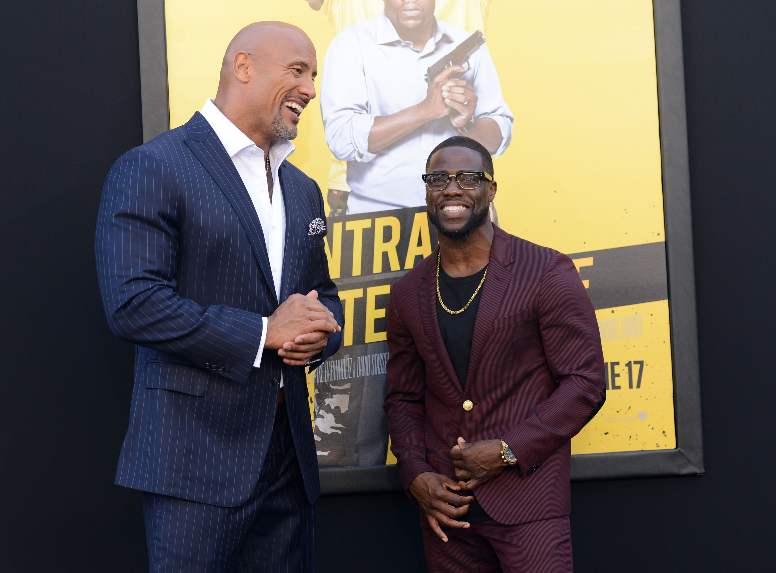 Dwayne Johnson and Kevin Hart attend the Warner Bros Premiere of Central Intelligence, in Westwood, Calif. on June 10, 2016.