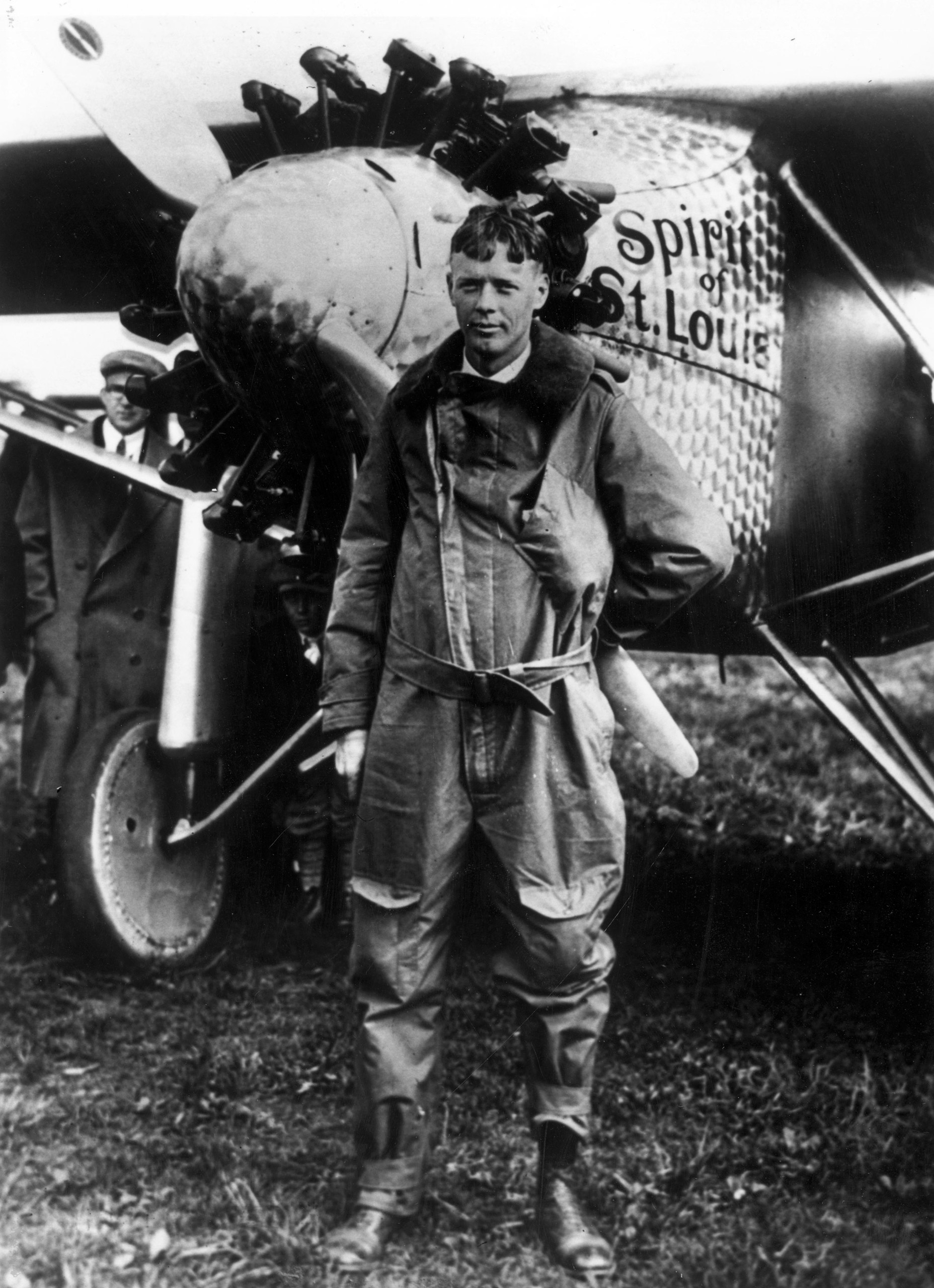 Charles Lindbergh poses with the 'Spirit of St Louis,' the plane he used to make the first non-stop solo flight across the Atlantic, May 1927.