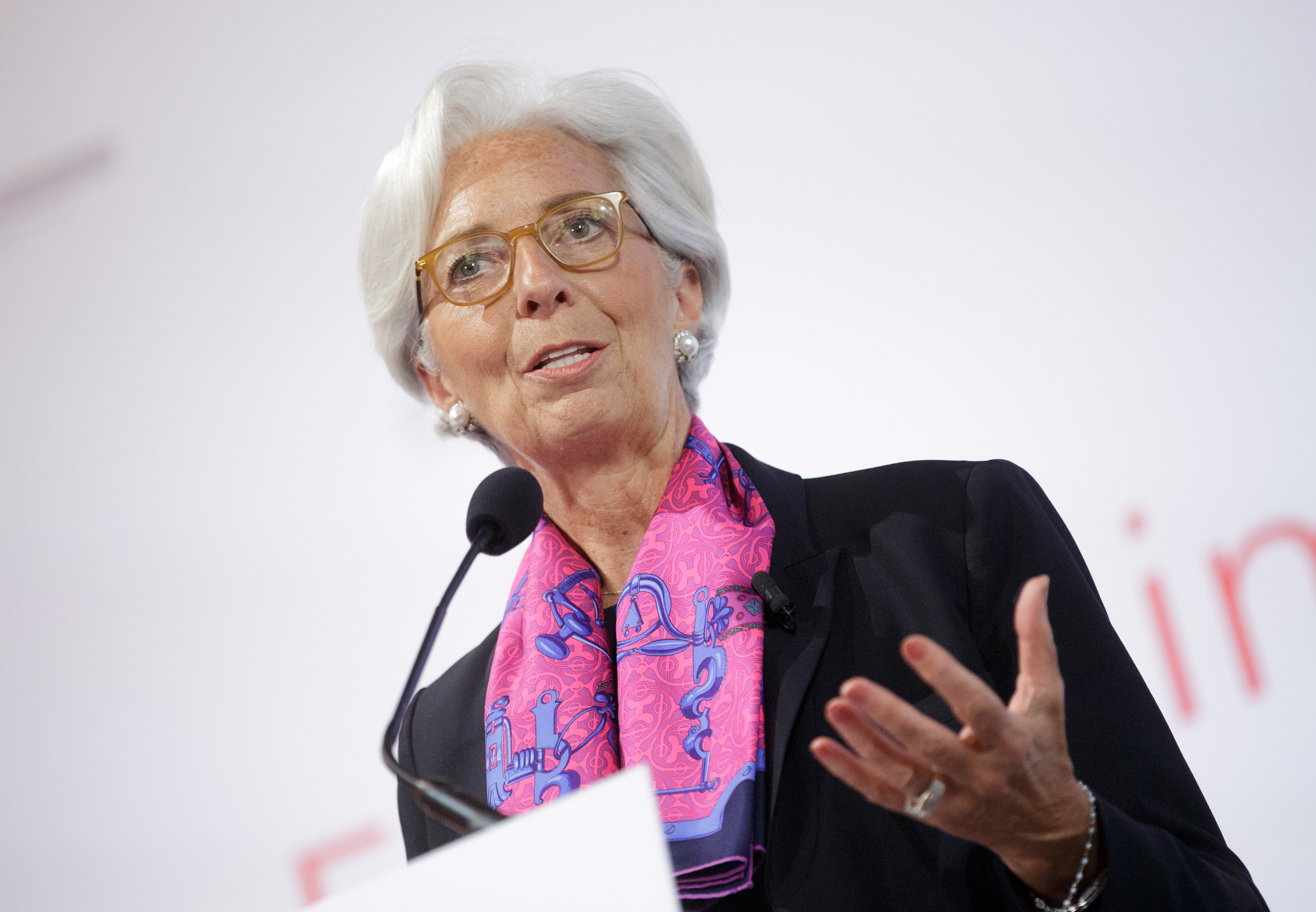 Christine Lagarde, managing director of the International Monetary Fund (IMF), gestures as she speaks during a panel session at the Hofburg Palace in Vienna, Austria, on June 17, 2016.