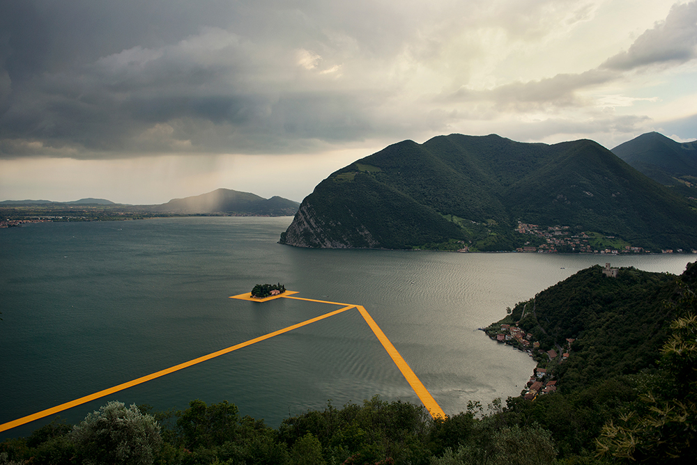 An overhead view of part of the Christo art installation,  The Floating Piers,  on Lake Iseo, Italy, June 2016.