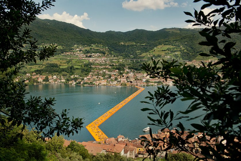 """An overhead view of part of the Christo art installation, """"The Floating Piers,"""" on Lake Iseo, Italy, June 2016."""