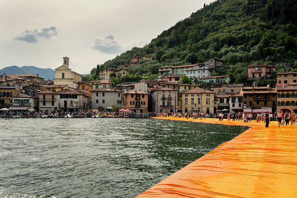 A view of the Christo art installation,  The Floating Piers,  on Lake Iseo, Italy, June 2016.