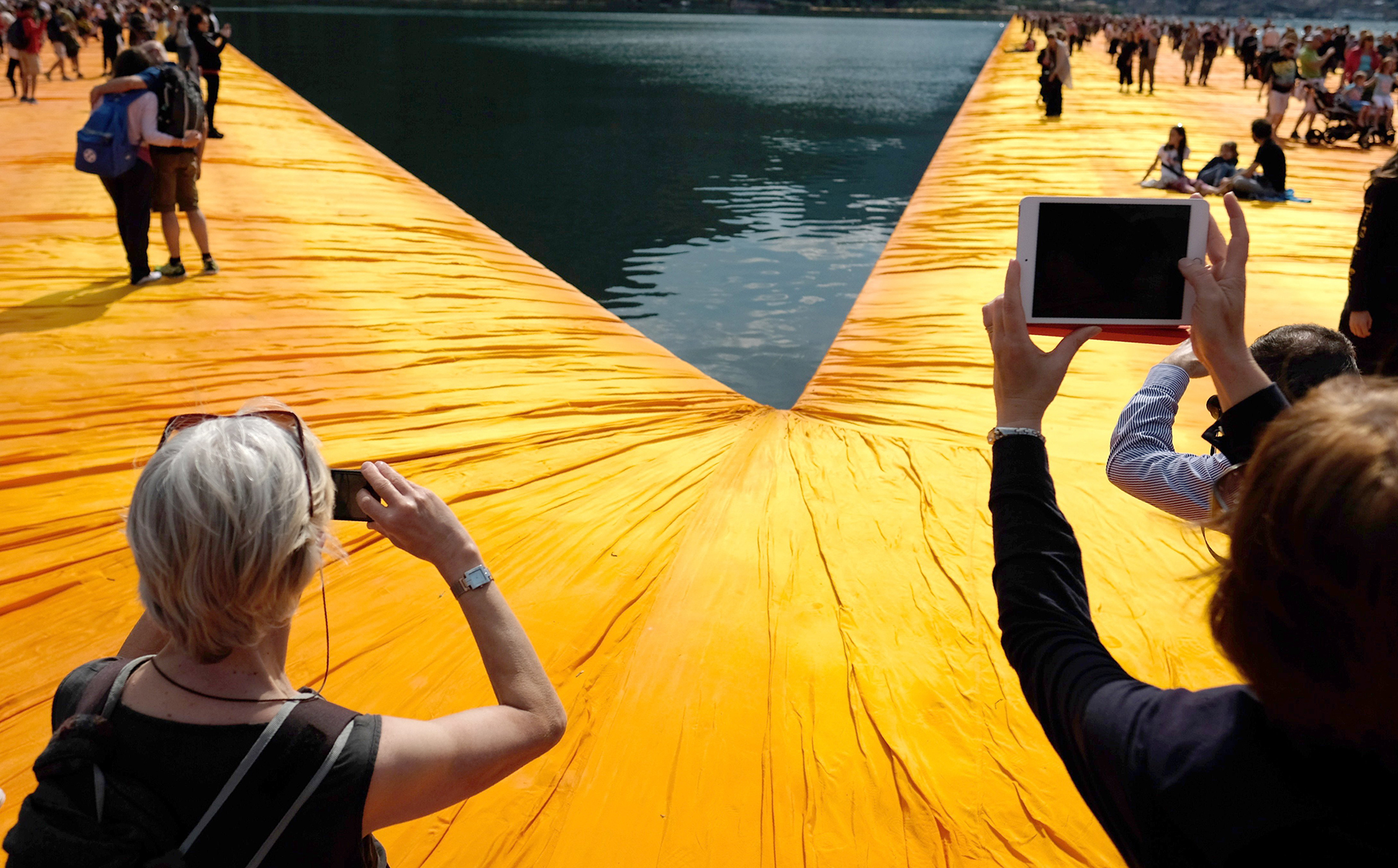 'The Floating Piers' Installation by Bulgarian artist Christo in Iseo, Italy, on June 8, 2016.