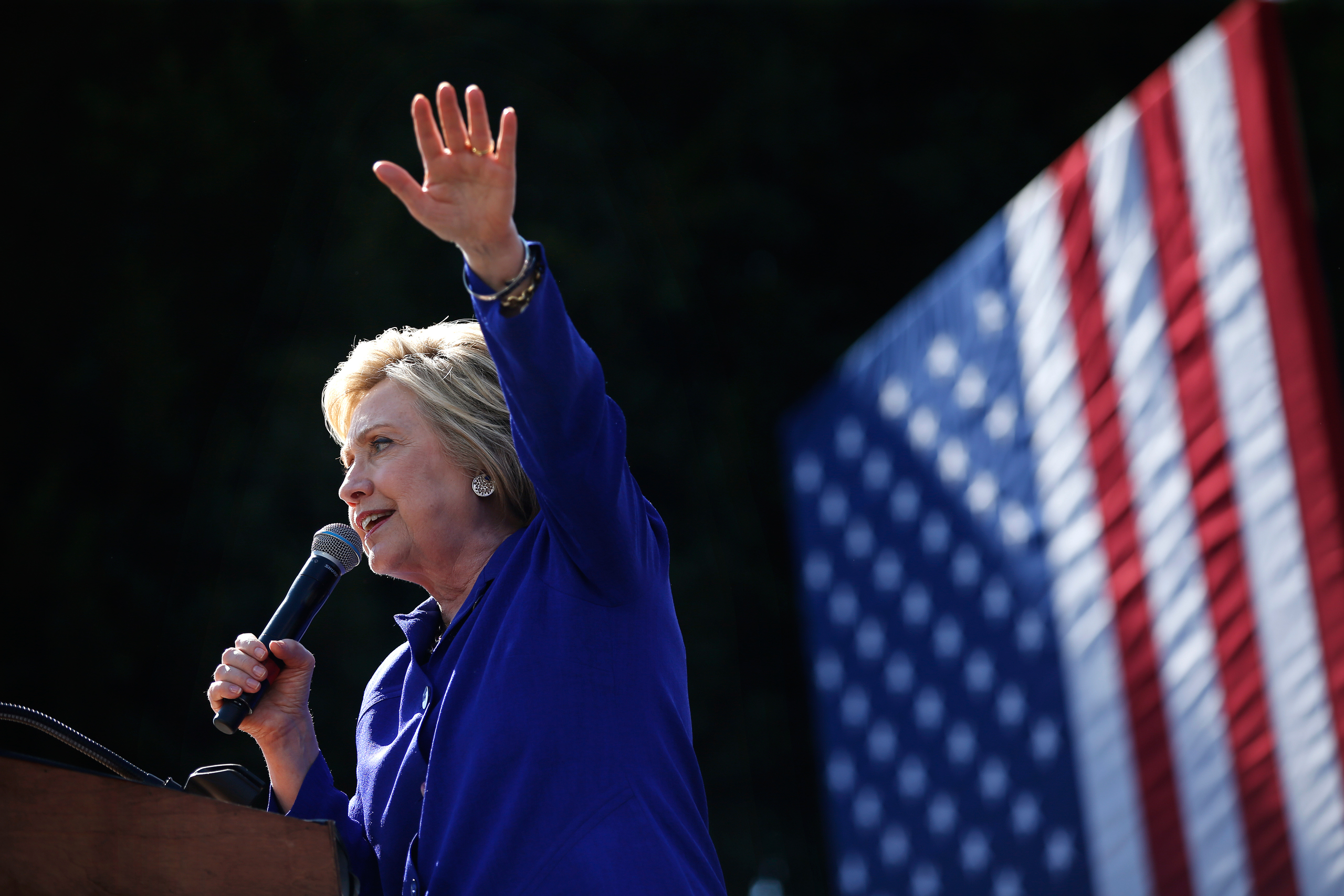 Democratic presidential candidate Hillary Clinton speaks at a rally in Los Angeles on June 6, 2016.