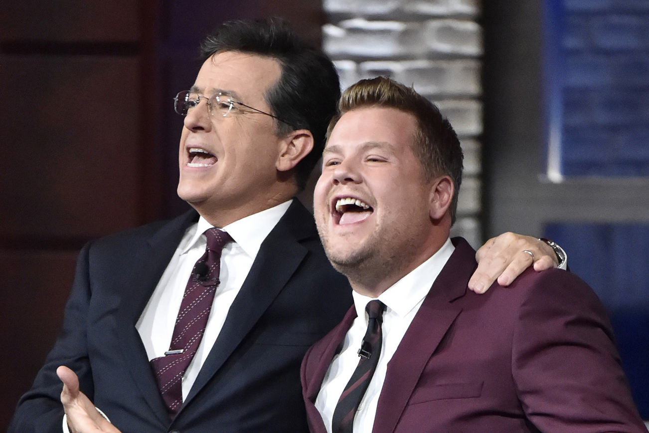 Stephen Colbert and James Corden on The Late Show with Stephen Colbert