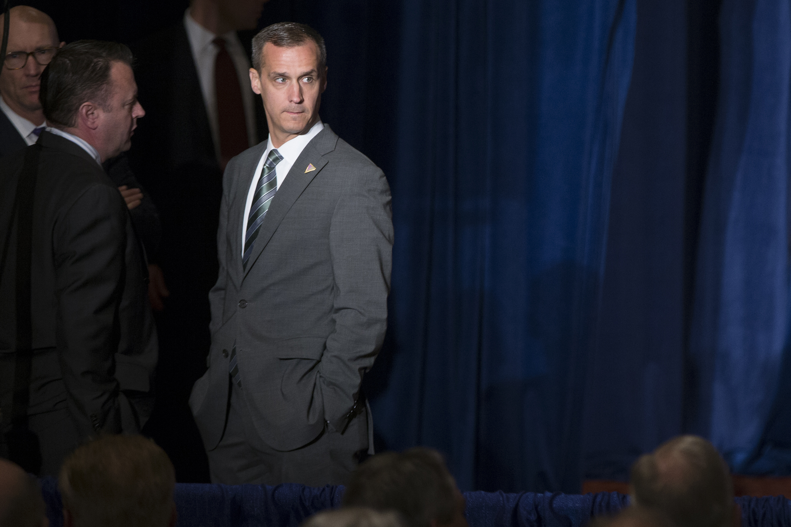 Corey Lewandowski, campaign manager for Republican presidential candidate Donald Trump, waits before the start of a foreign policy speech at the Mayflower Hotel in Washington D.C. on April 27, 2016.