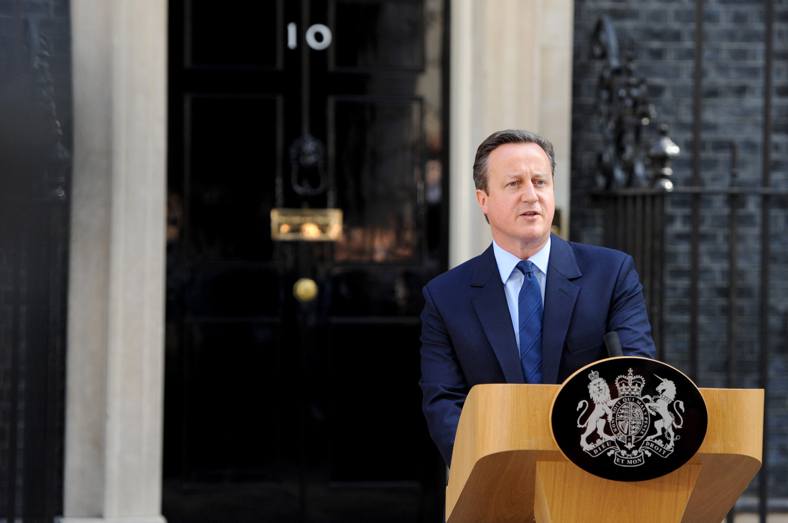 British Prime Minister, David Cameron announces his resignation at No. 10 Downing street after the UK has voted by 52% to 48% to leave the European Union after 43 years in London on June 24, 2016.