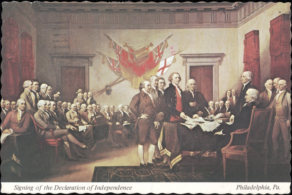 A postcard showing 'The Signing of the Declaration of Independence', painted by John Trumbull, Philadelphia, Pennsylvania.