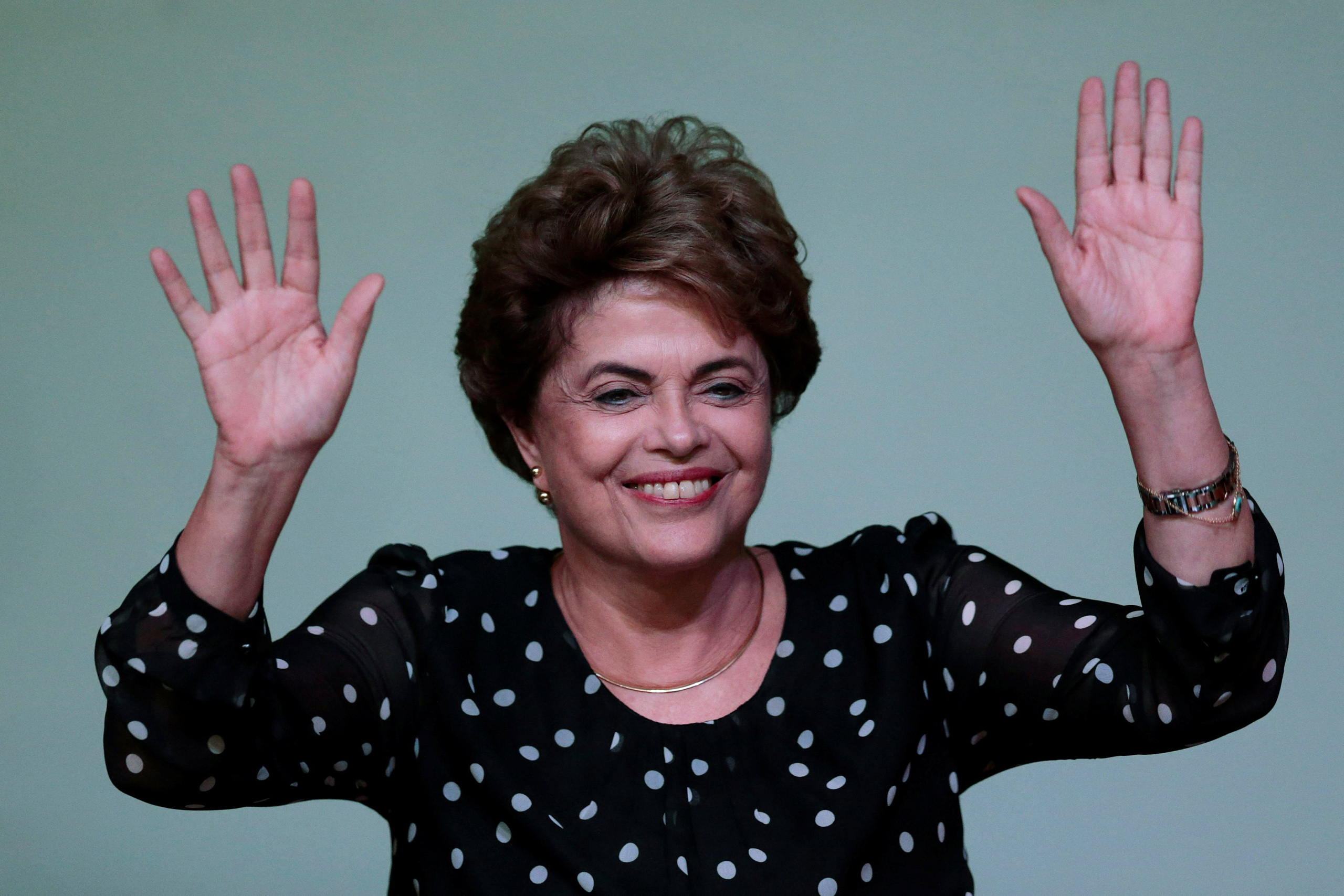 Dilma Rousseff gestures during the launching ceremony of the book  Resistance to the 2016 Coup,  written by professors from the University of Brasilia, in Brazil, May 30, 2016.