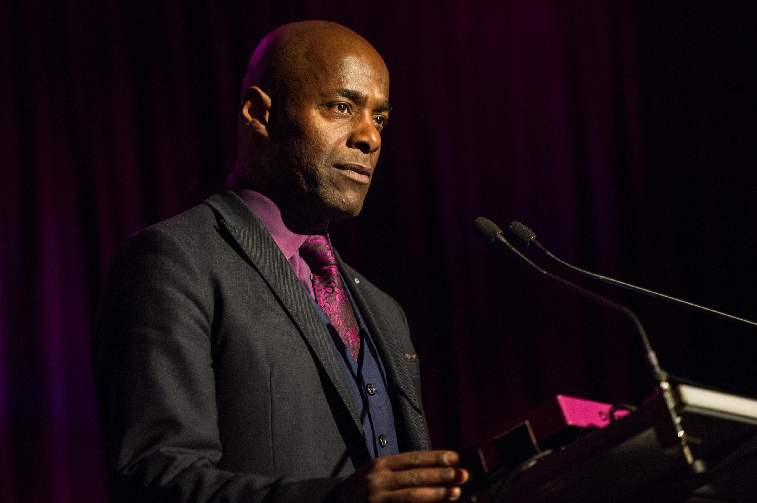 Paterson Joseph speaks during Amnesty International UK in London on June 3, 2015.