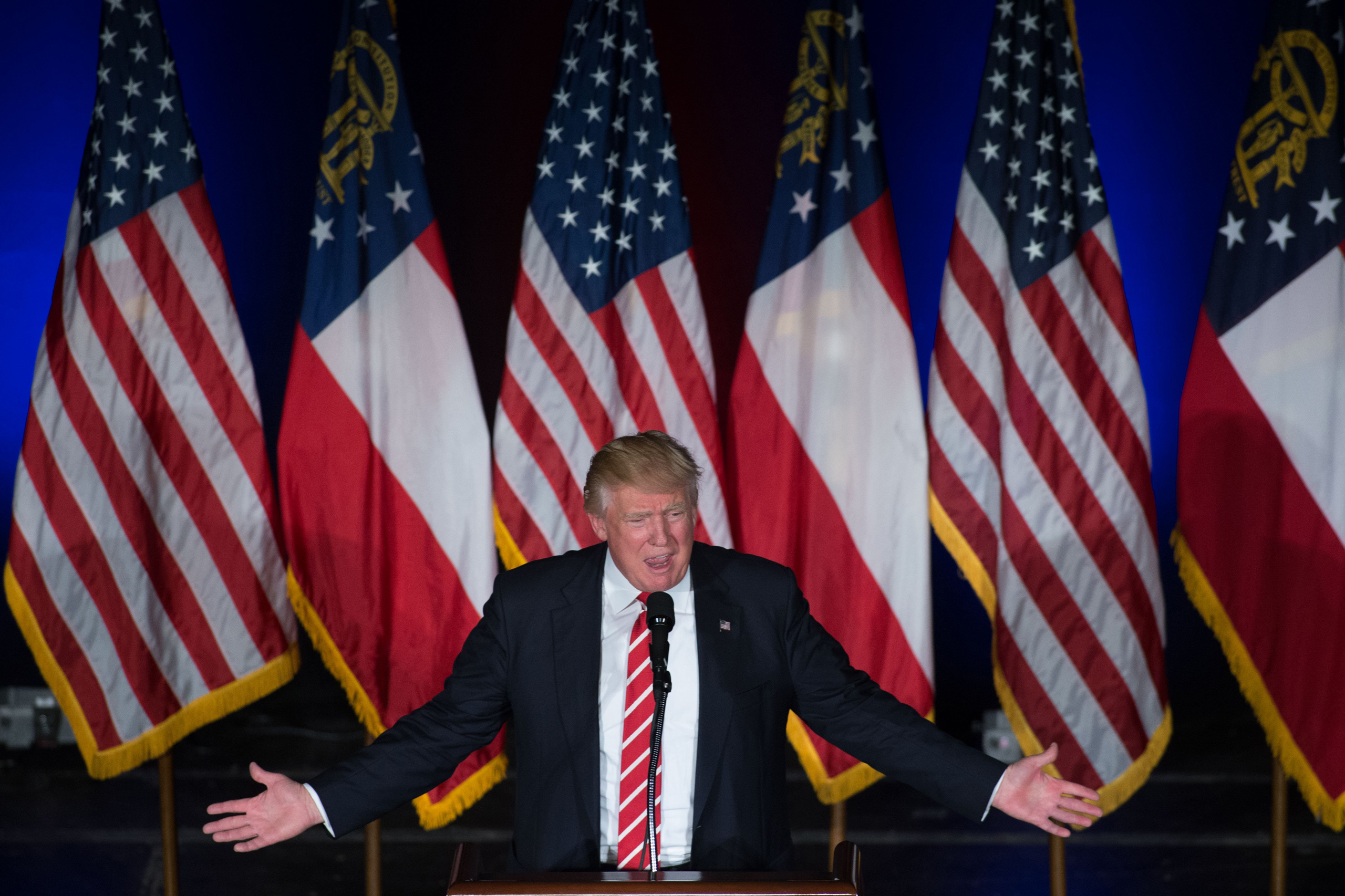 Republican presidential candidate Donald Trump speaks during a campaign rally at The Fox Theatre in Atlanta on June 15, 2016.