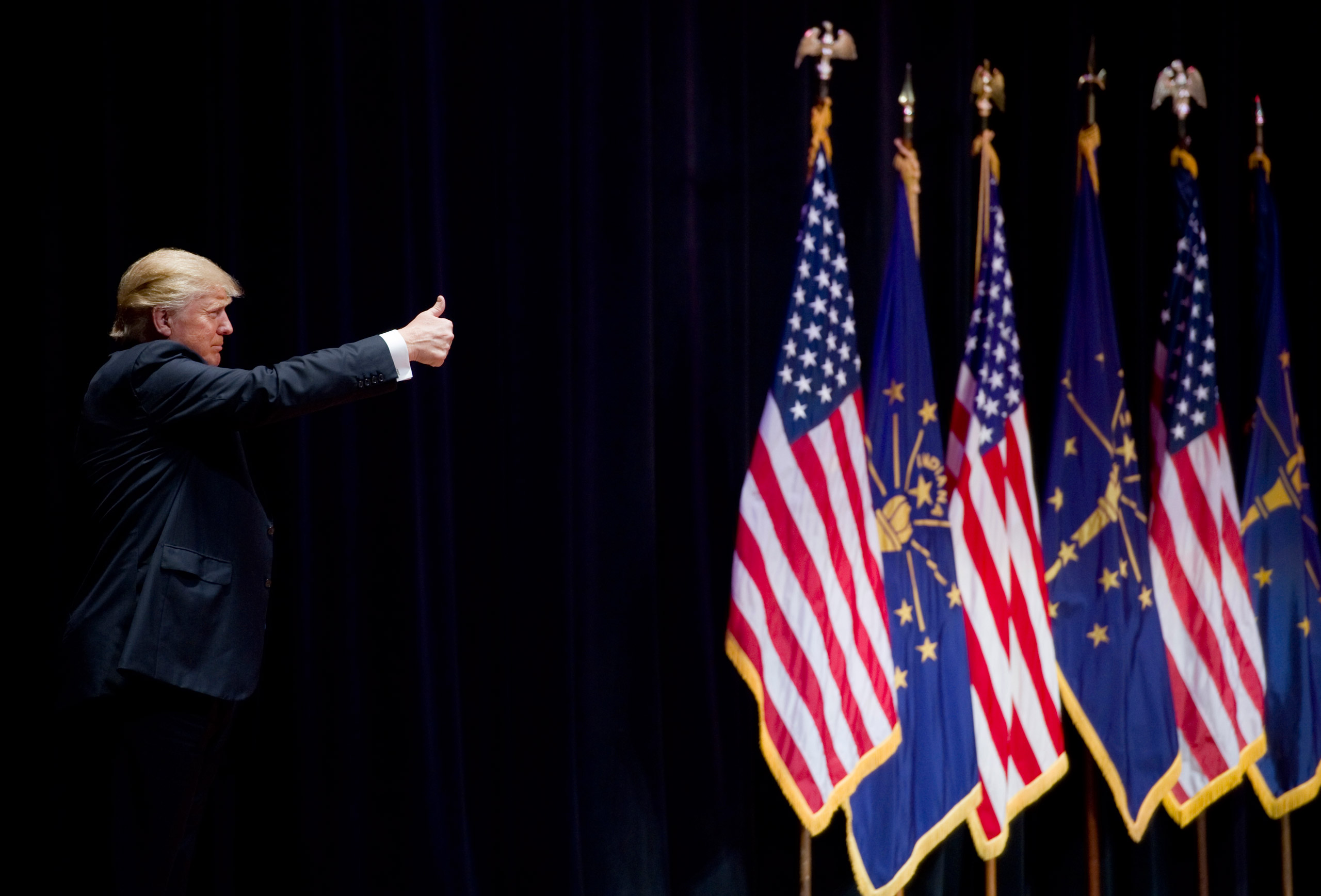Donald Trump acknowledges the crowd before leaving the stage at the Aiken Theatre in Evansville, Ind., on May 6, 2016.