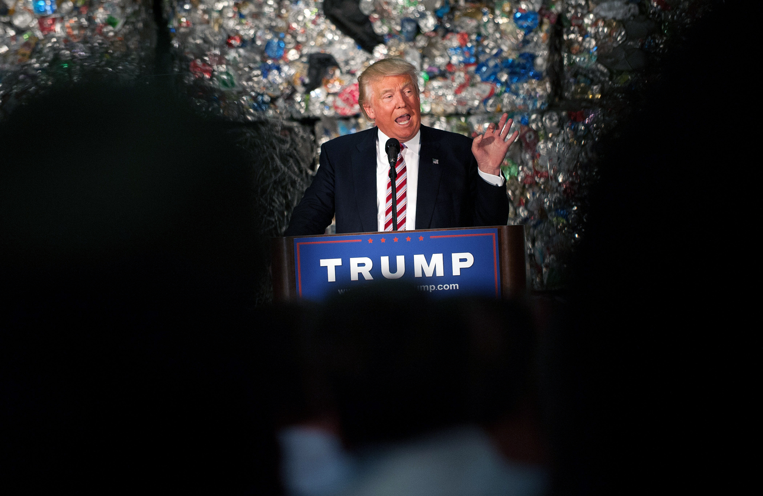 Presumptive GOP presidential nominee Donald Trump speaks during a policy speech at Alumisource in Monessen, Pa., on June 28, 2016.