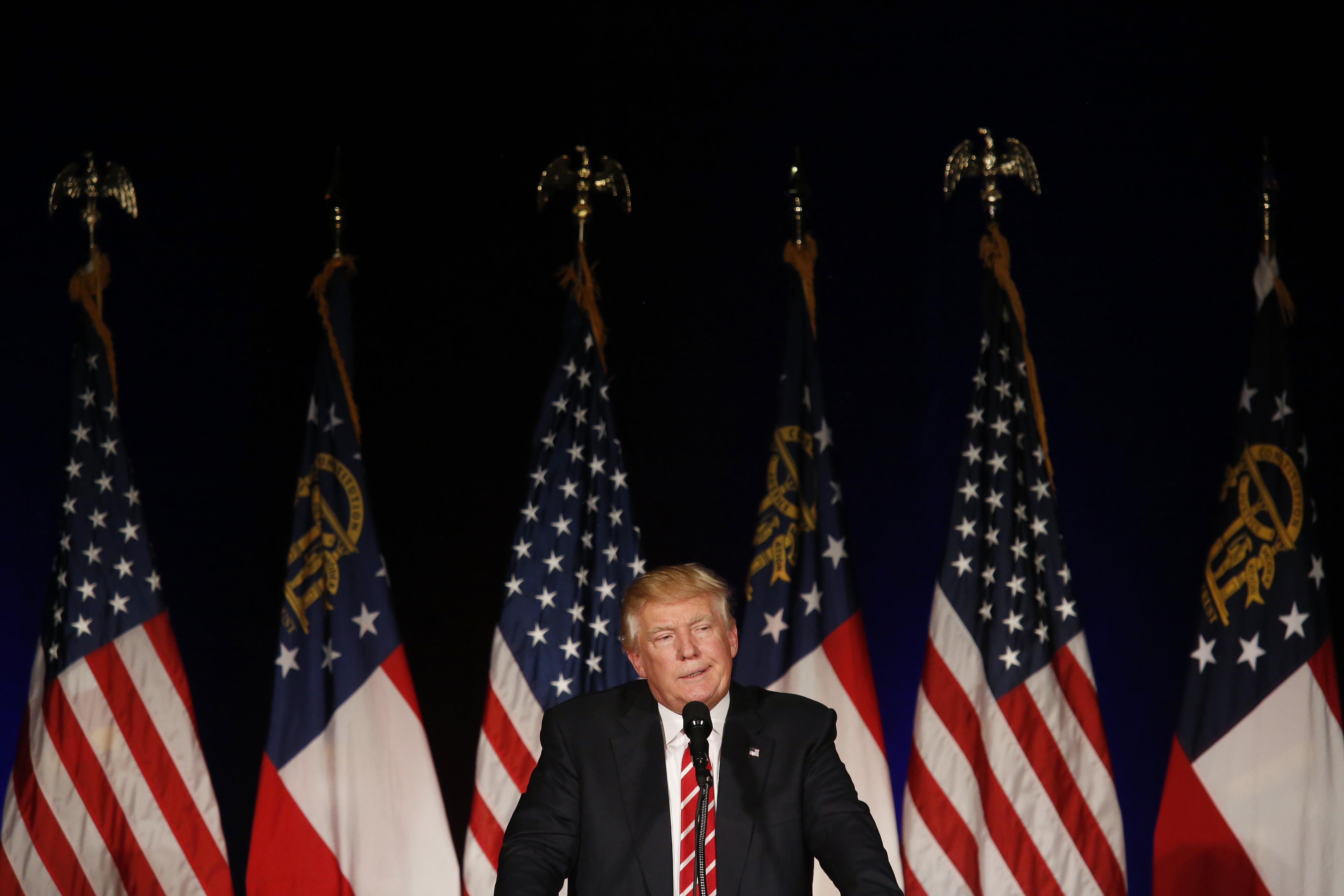 Donald Trump speaks during a campaign event in Atlanta, Georgia, on June 15, 2016.