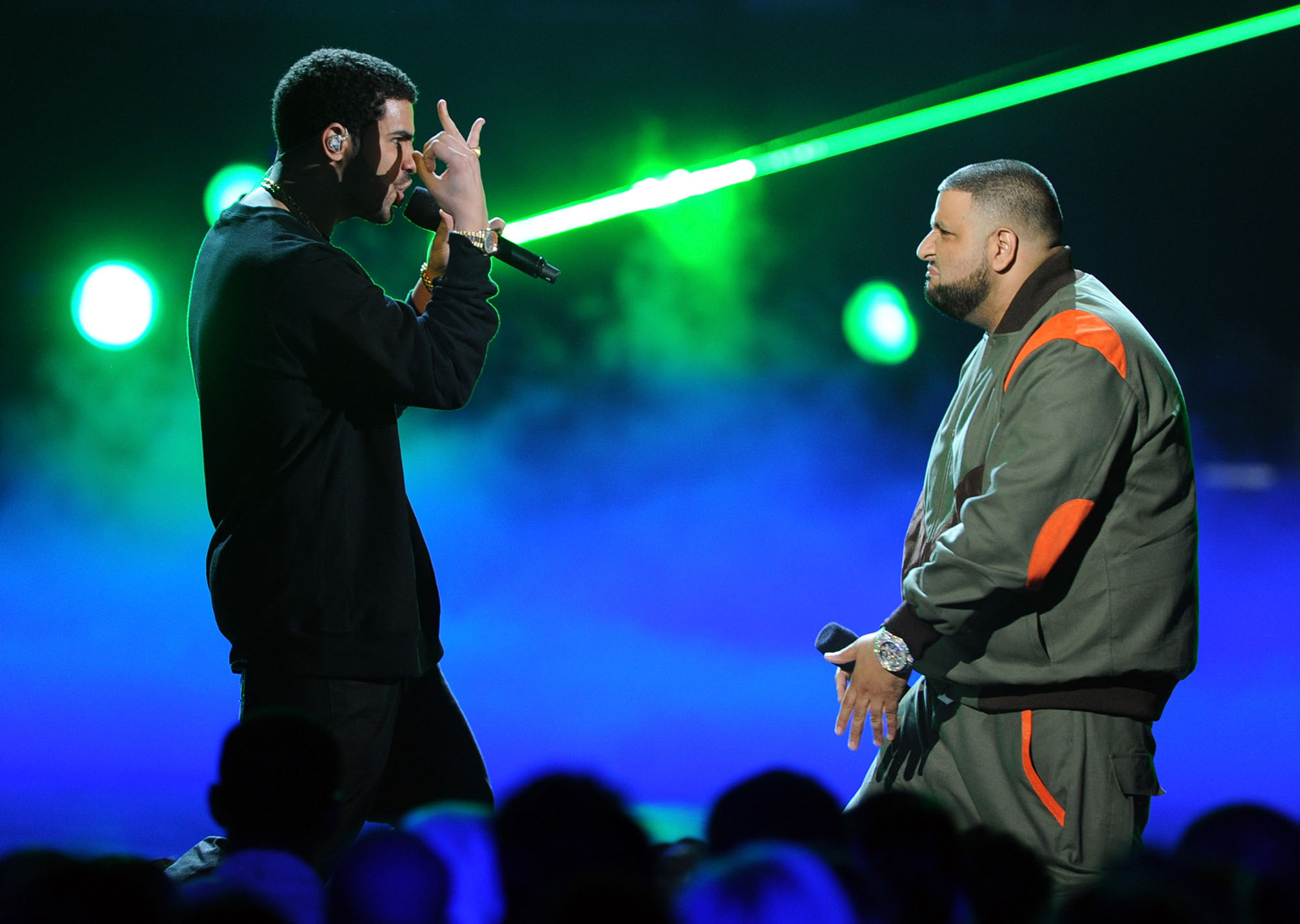 LOS ANGELES, CA - JUNE 26:  Singer Drake (L) and rapper DJ Khaled perform onstage during the BET Awards '11 (Photo by Kevin Winter/Getty Images)