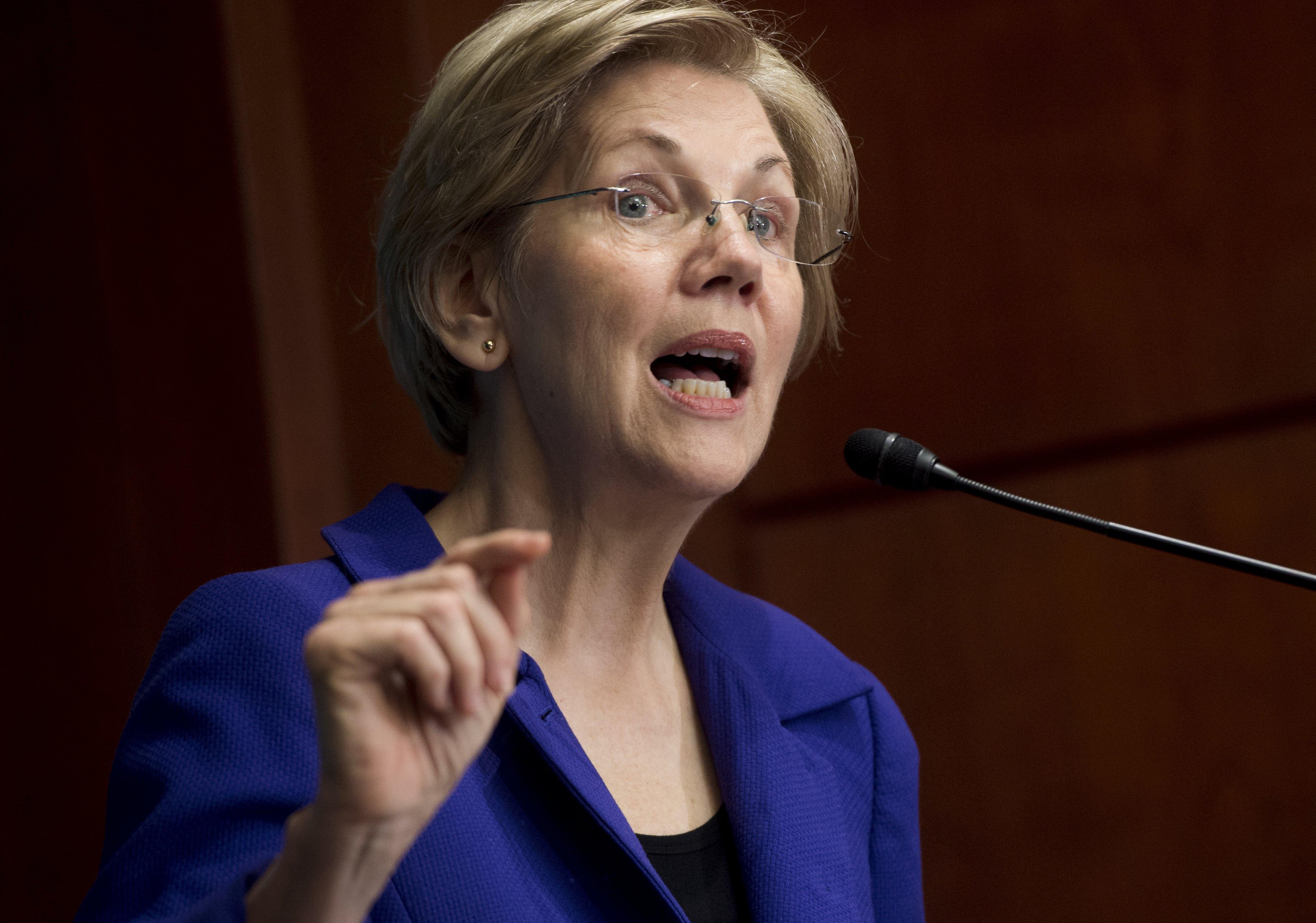 Senator Elizabeth Warren, Democrat of Massachusetts, speaks about open markets and monopolies in the US economy during the New America's Open Market Program on Capitol Hill in Washington, DC, June 29, 2016.