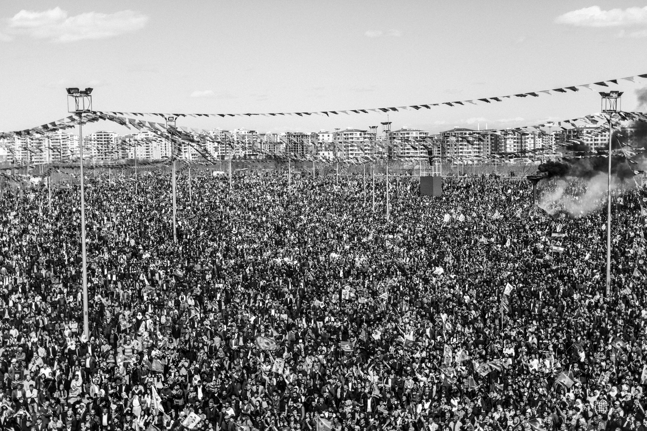 Thousands of Kurds celebrate the Newroz Spring festival in Diyarbakir, southern Turkey, March 2016, after months of fighting between security forces and Kurdish separatists.  Nowruz, the Farsi-language word for 'New Year' is an ancient Persian festival, celebrated on the first day of Spring in the Central Asian Republics, Iraq, Turkey, Afghanistan and Iran.