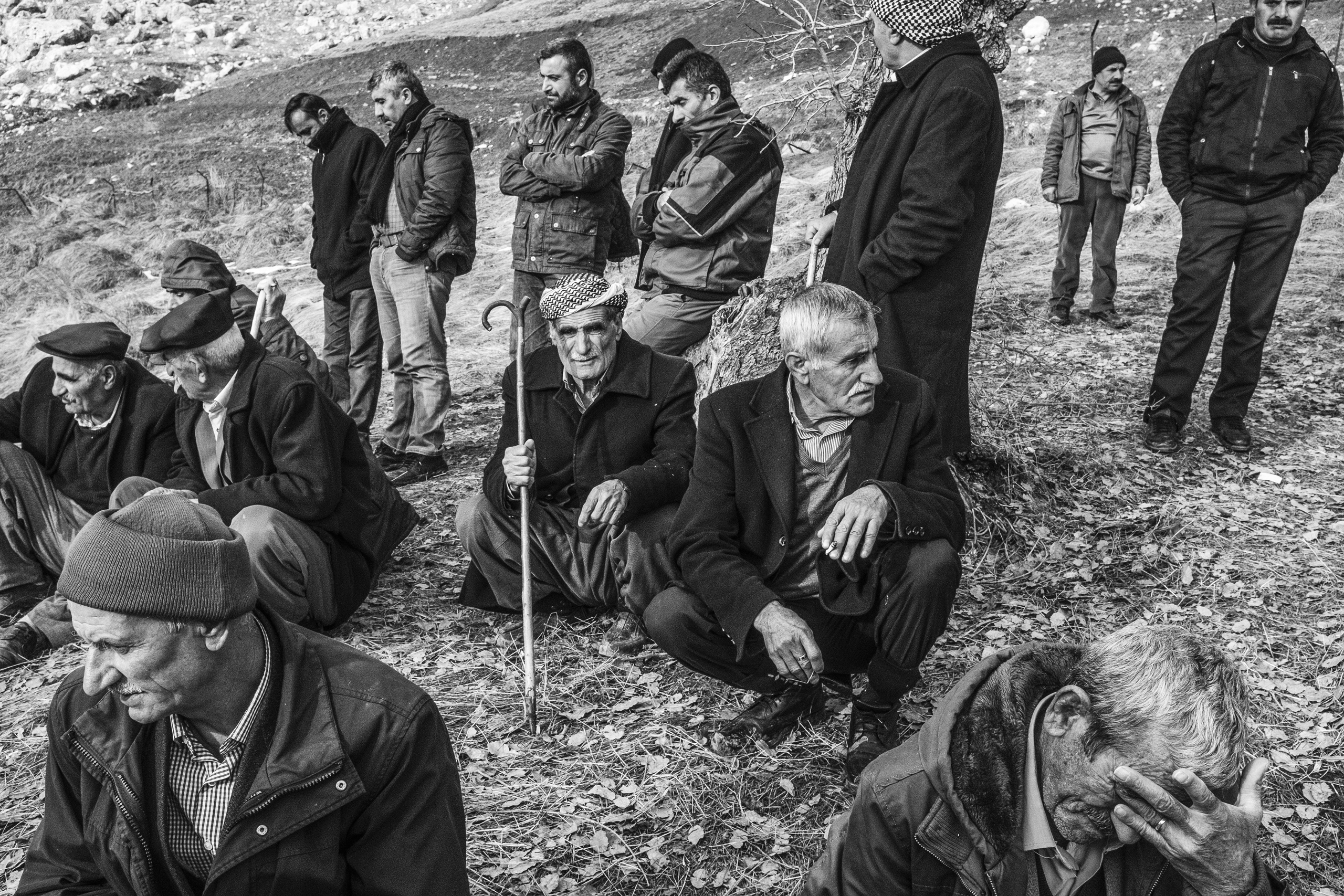 Mourners at a funeral in Sirnak, Turkey, for a victim of the clashes between PKK and Turkish special army in Cizre, Jan. 2016.