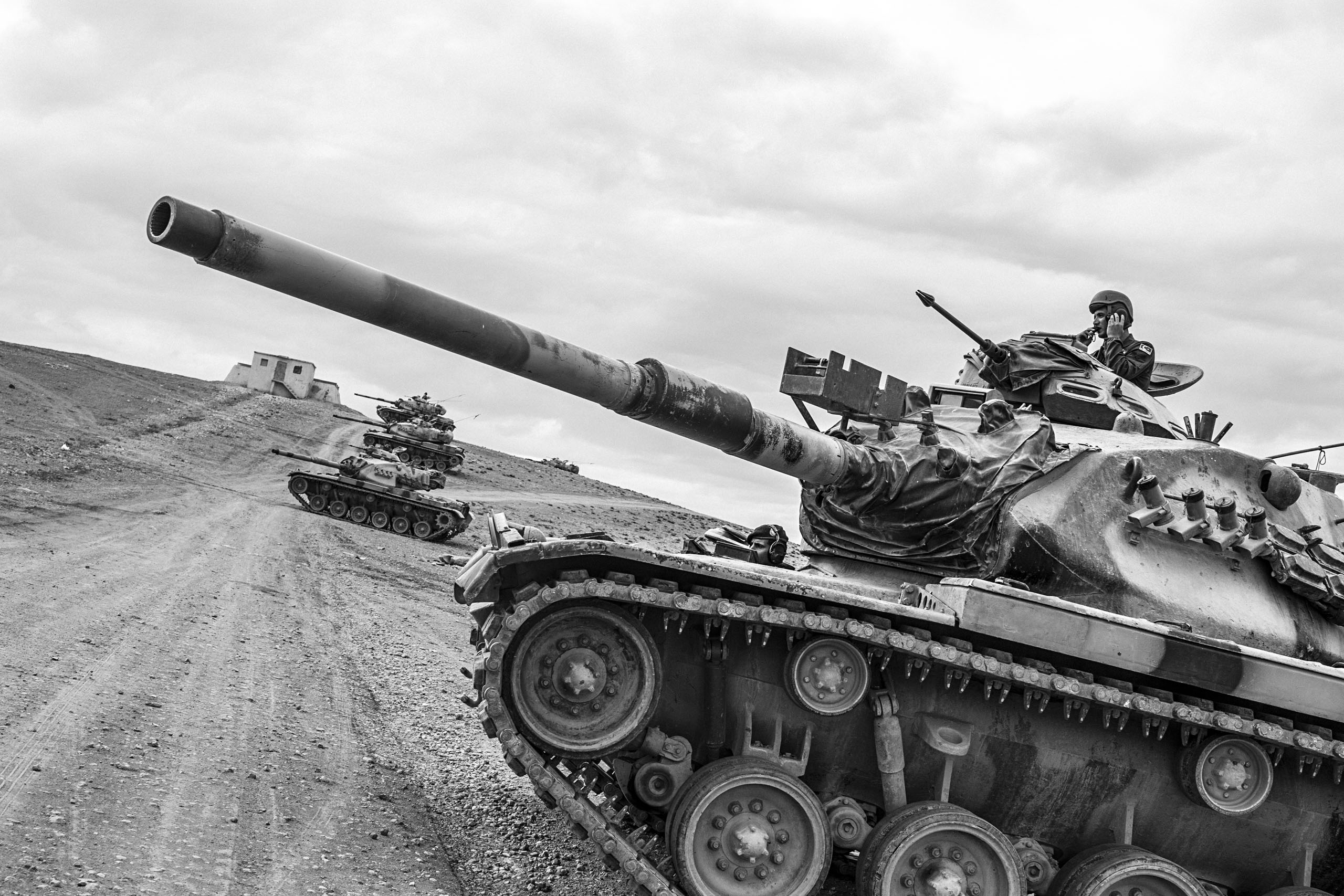 Tanks of the Turkish Armed Forces line the Turkish-Syrian border, as clashes intensified between the Islamic State of Iraq and Levant (ISIL/ISIS) militants and pro-Kurdish Democratic Union Party (PYD) forces, Sept. 2014.