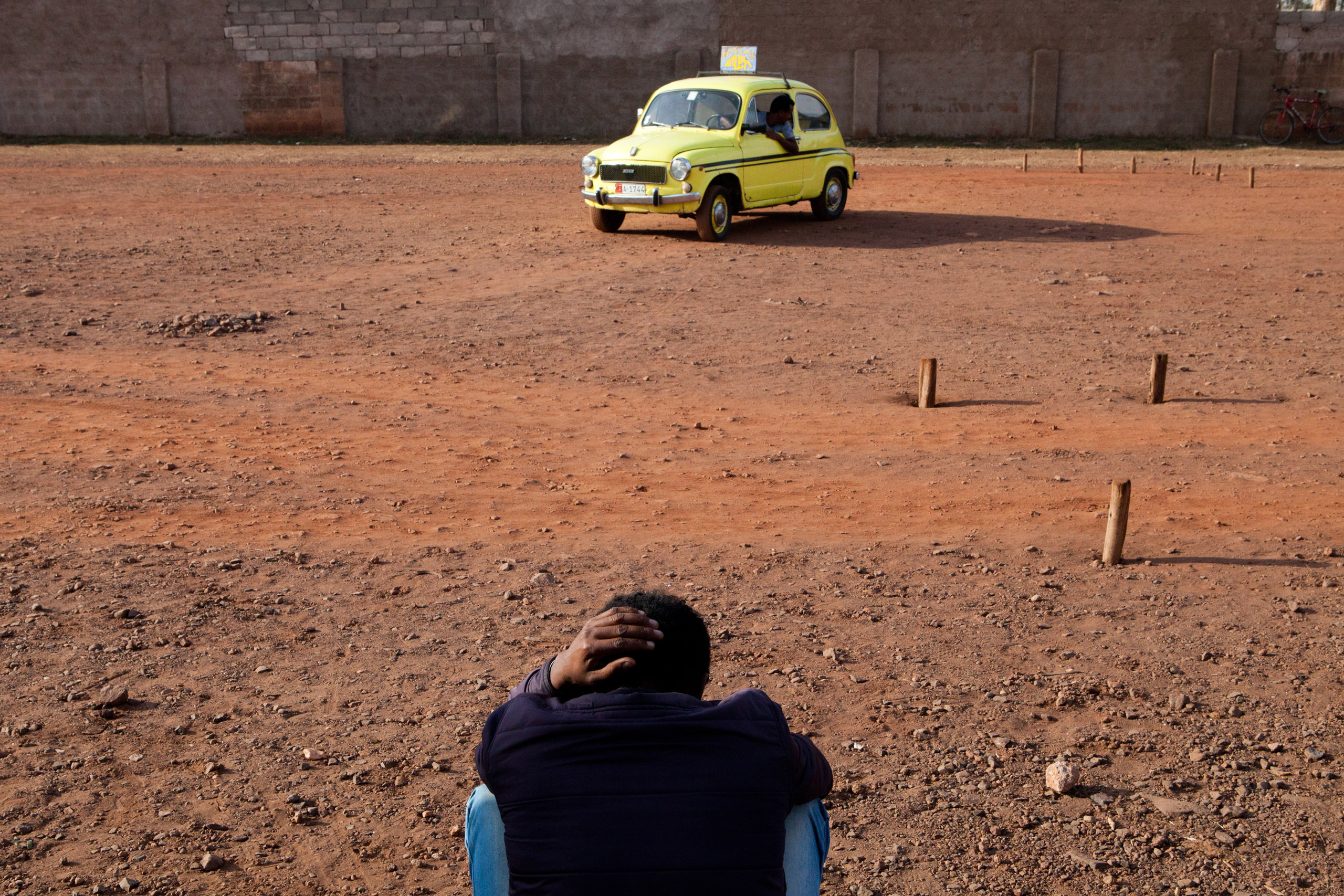 Fiat 600 used for driving test in Asmara.