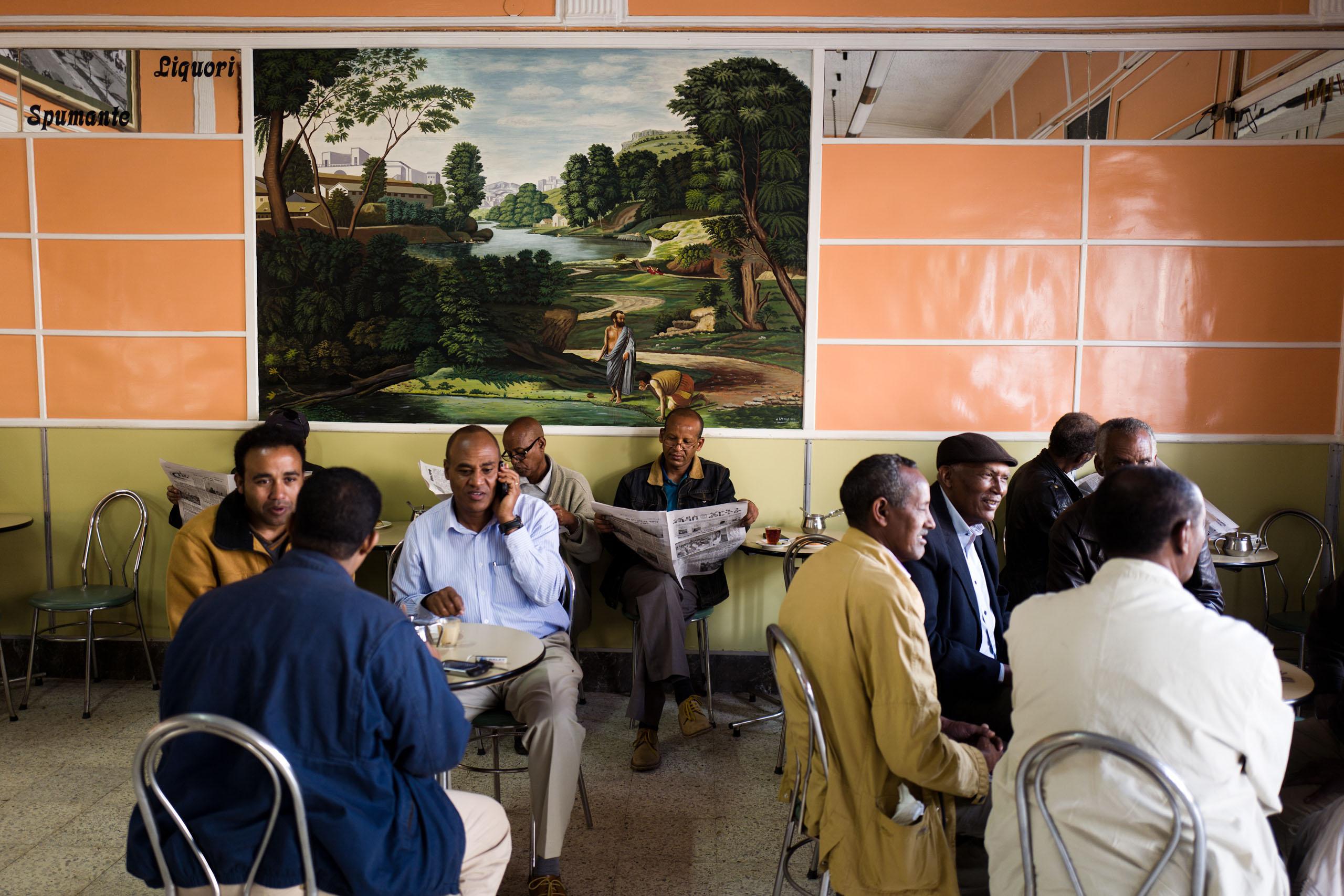 Bar Vittoria in  Asmara, with original design from the 1950's.