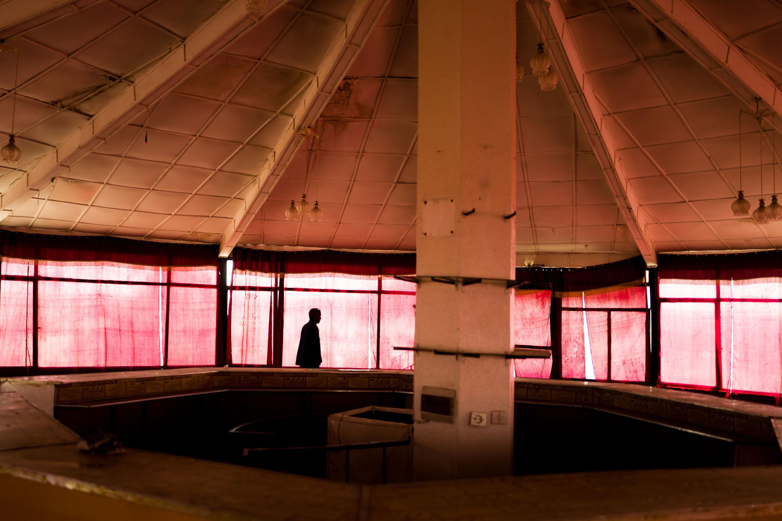 The empty building of a former restaurant in Asmara.