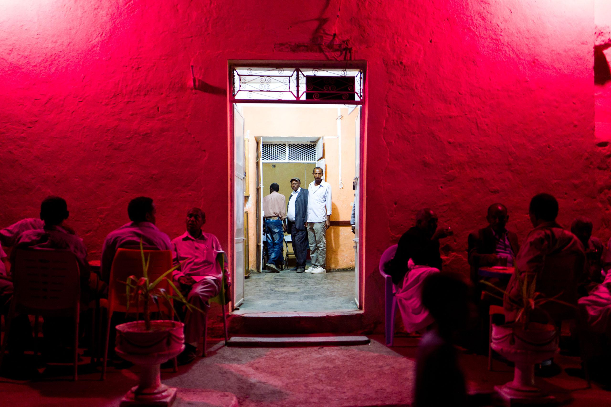 A night bar in the city of Keren, Eritrea.