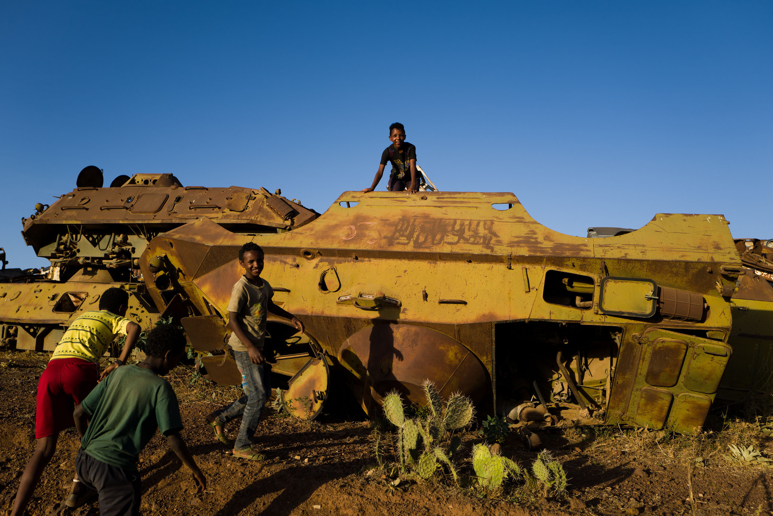 A  graveyard of military tanks and other relics of war in Asmara.
