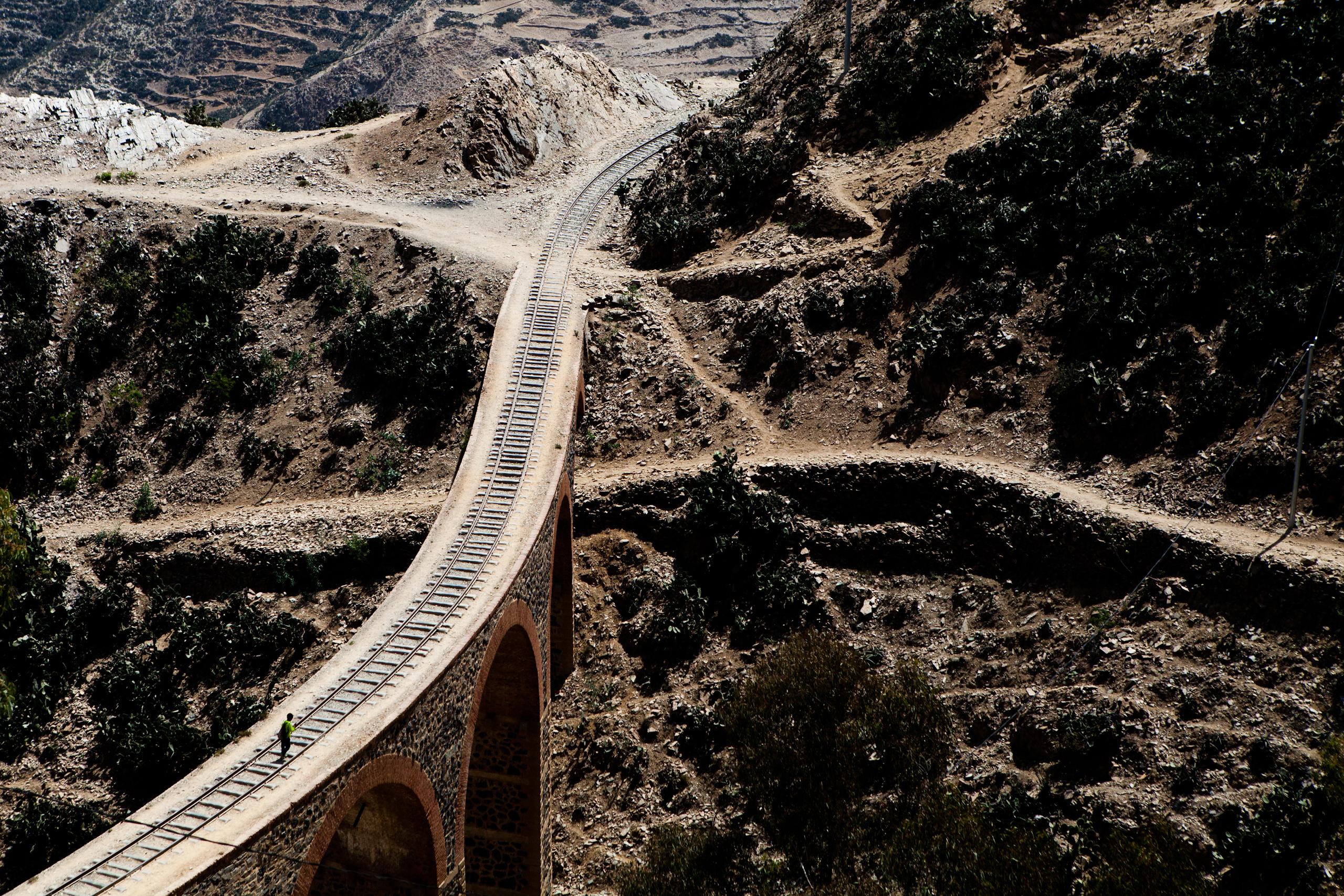 Portion of the railroad from Asmara to Massawa.