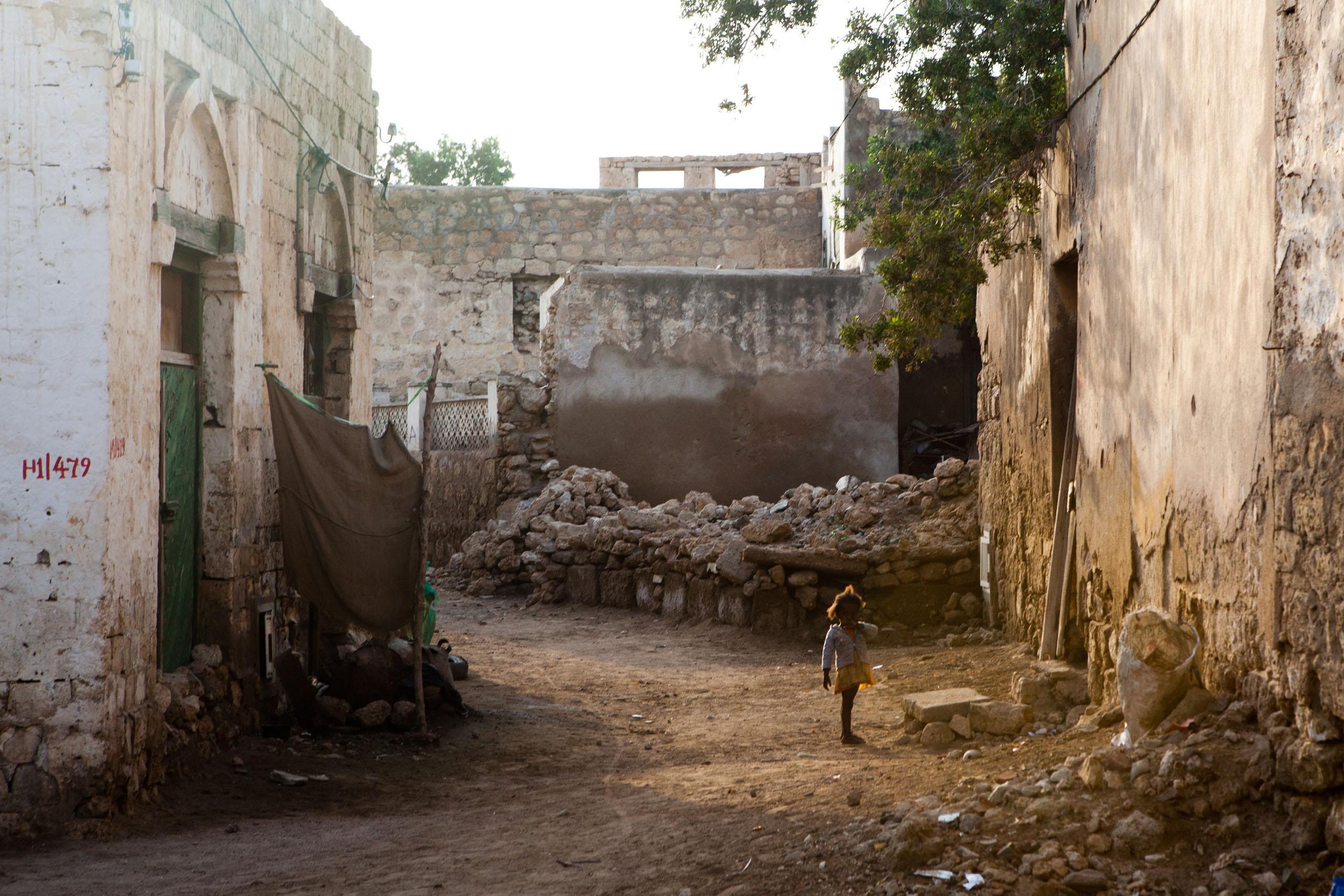 Streets damaged during war time in Massawa.