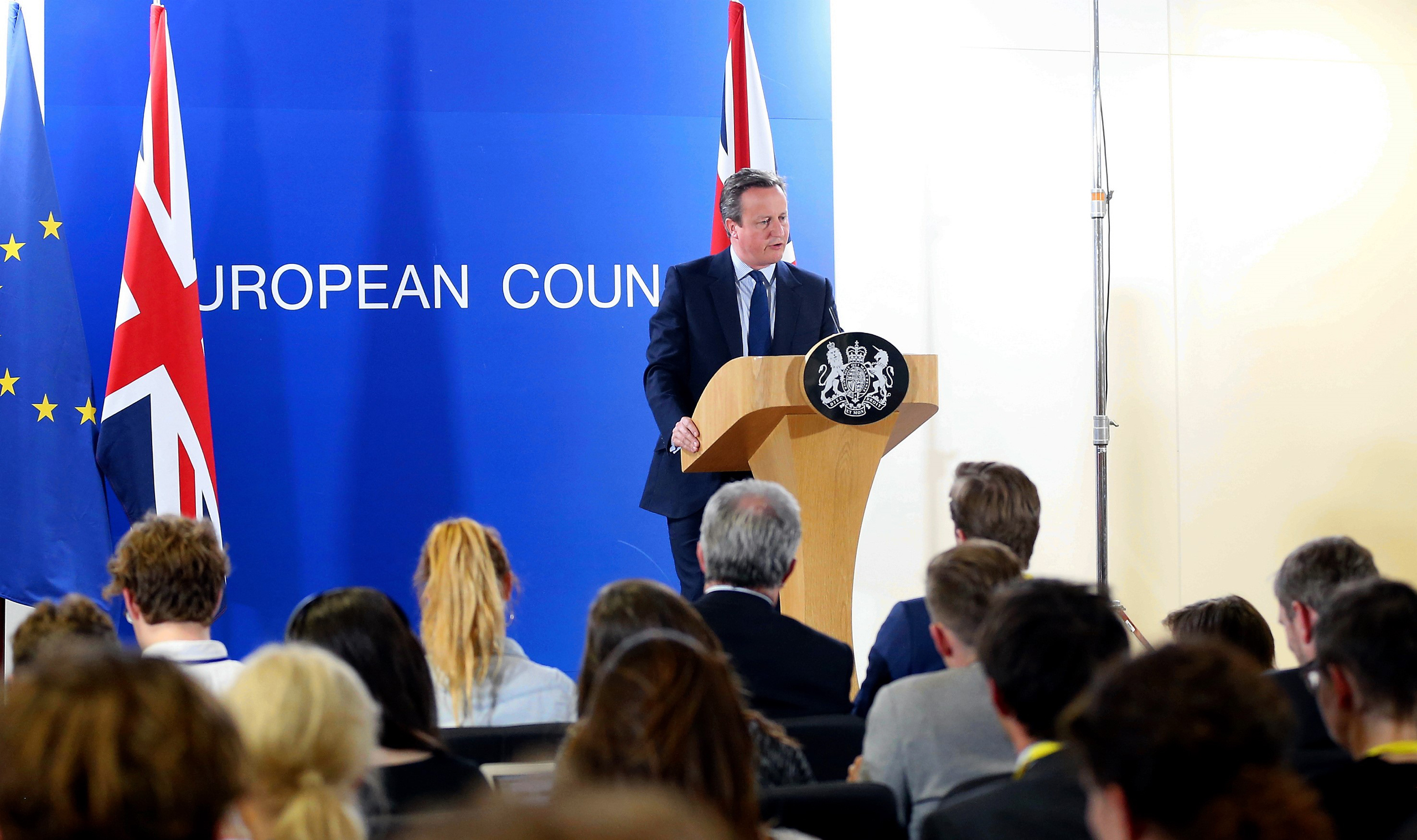 British Prime Minister David Cameron holds a press conference after  EU summit meeting in Brussels on June 28, 2016.
