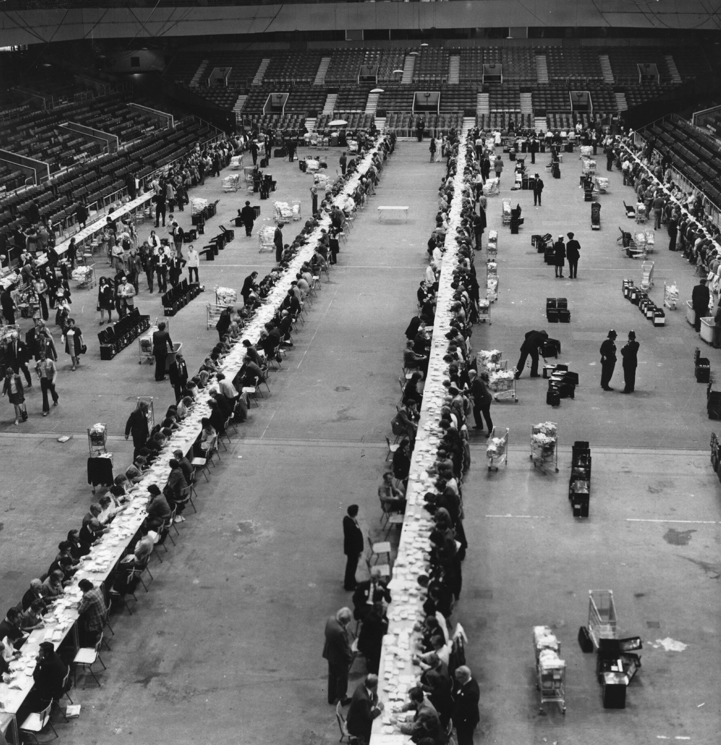 Votes in the Common Market Referendum being counted at Earl's Court Exhibition Center, London, June 6,1975.