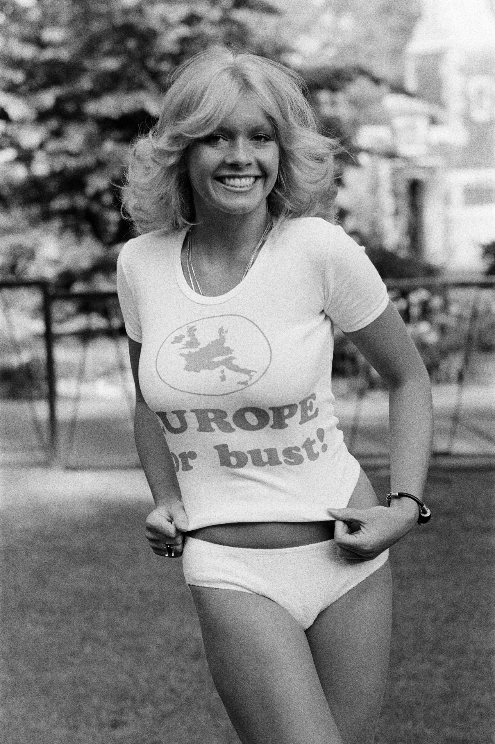 Beverley Pilkington, 22 year old model from Essex, wearing Pro Europe white tee shirt with the slogan, Europe or bust! May 19, 1975.