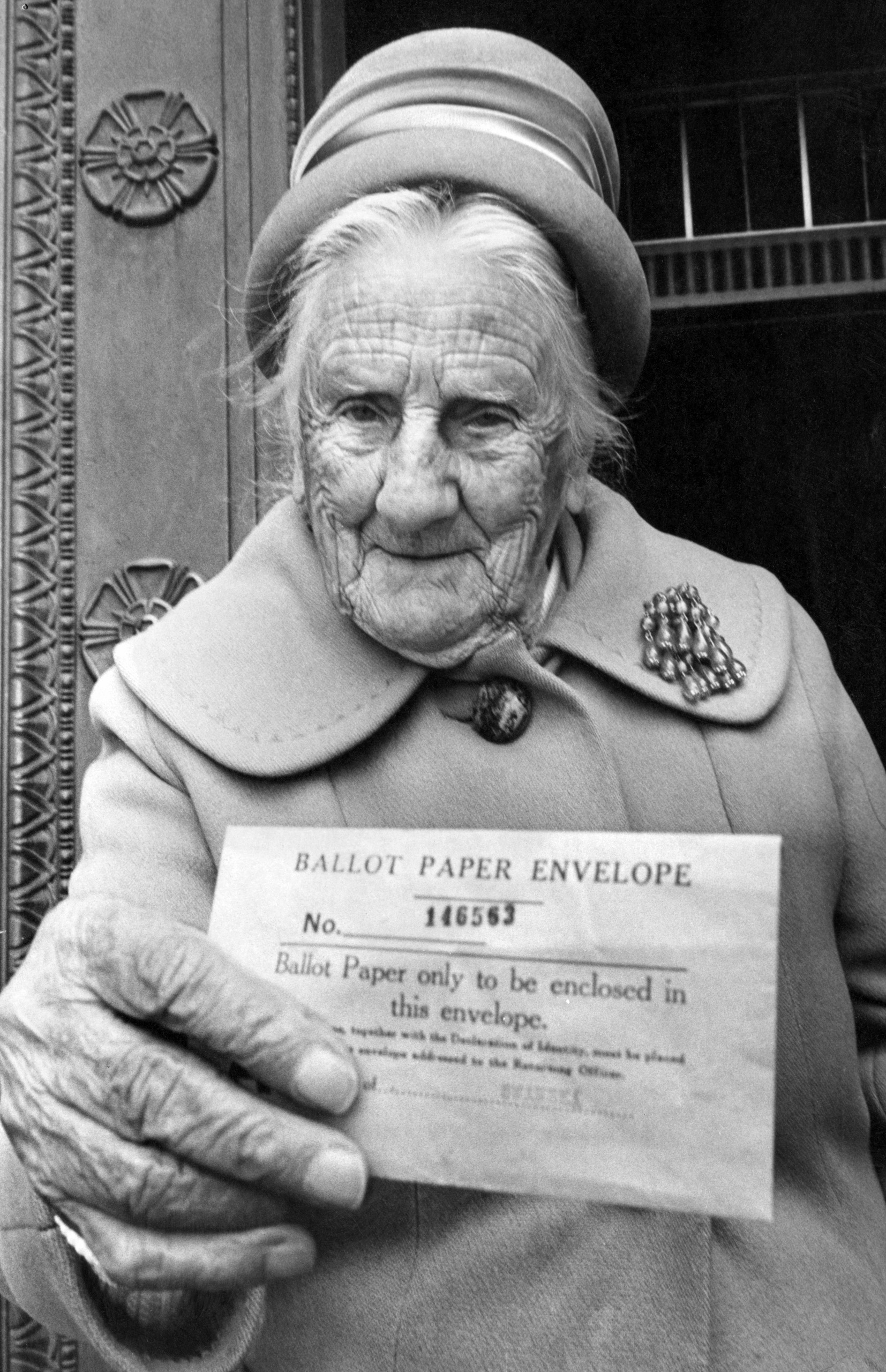Mrs Anna Williams aged 102, personally delivers her Yes Vote to Swansea's referendum returning officer, Referendum Day, June 5, 1975.