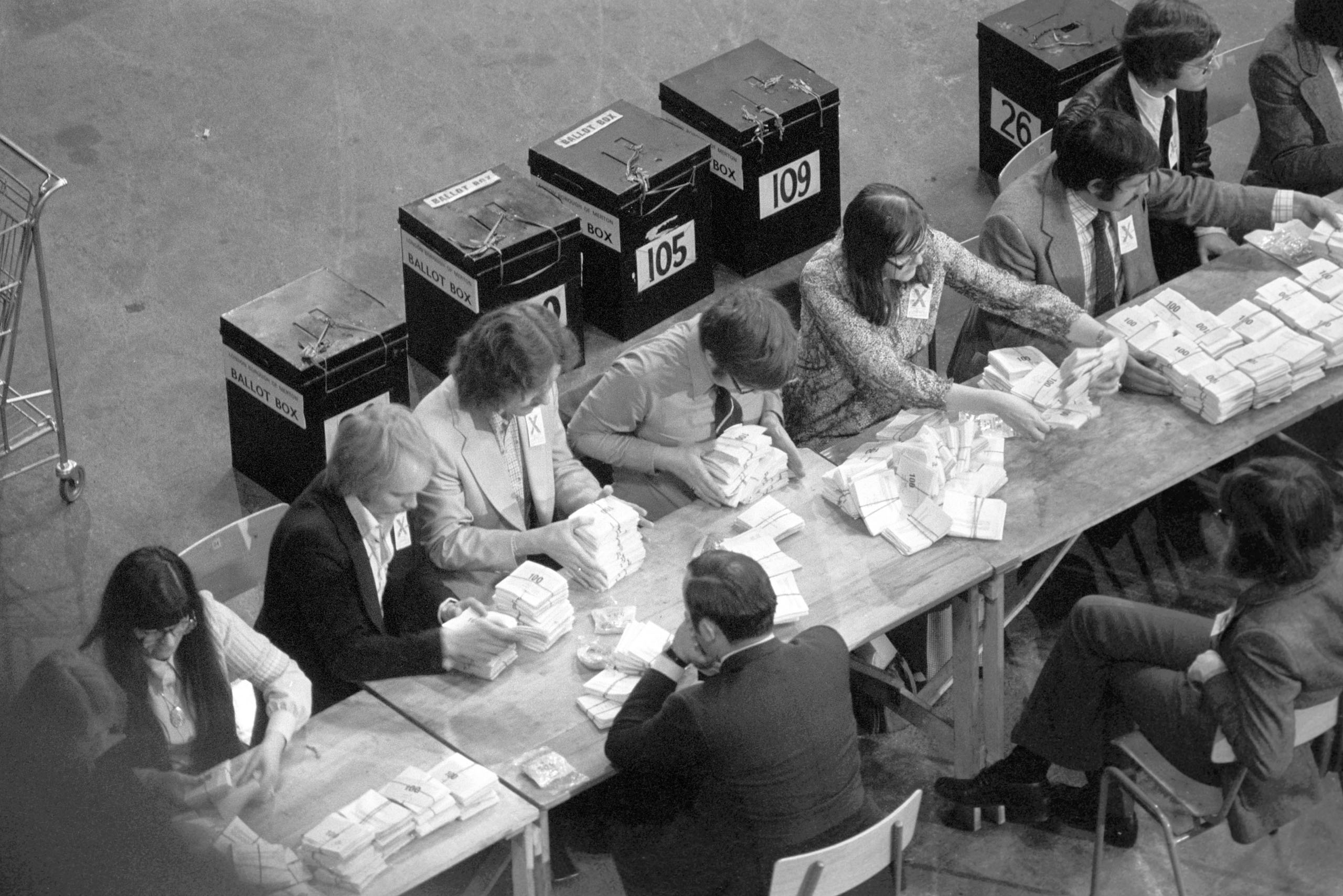 Ballot boxes are seen in the background as the count for the European Referendum gets underway, June 6, 1975.