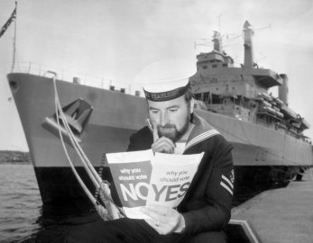 LREM Eric Littlehales, of Oswestry, Salop, ponders arguments for and against in the forthcoming National Referendum on the Common Market during a courtesy visit by HMS Fearless to Stockholm, 1975.