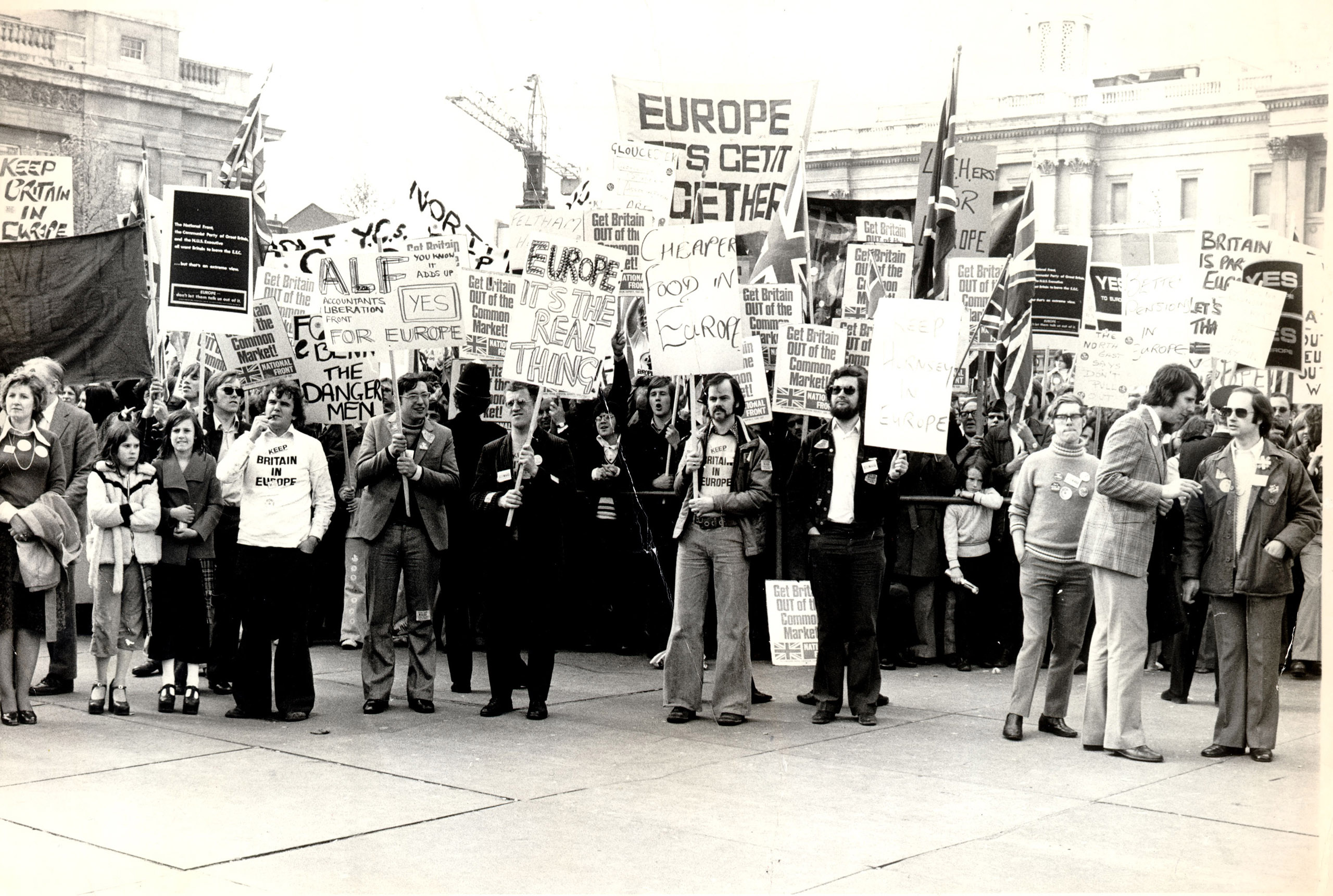 Pro-Common Market Youth Rally at Trafalgar Square, London, 1975.